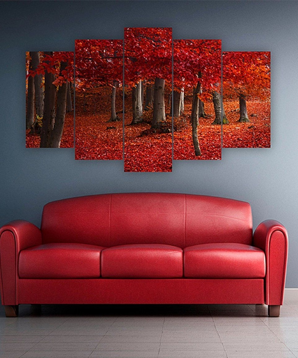 Recent Take A Look At This Red Leaves Five Piece Horizontal Wall Art Today Throughout Horizontal Wall Art (Gallery 19 of 20)