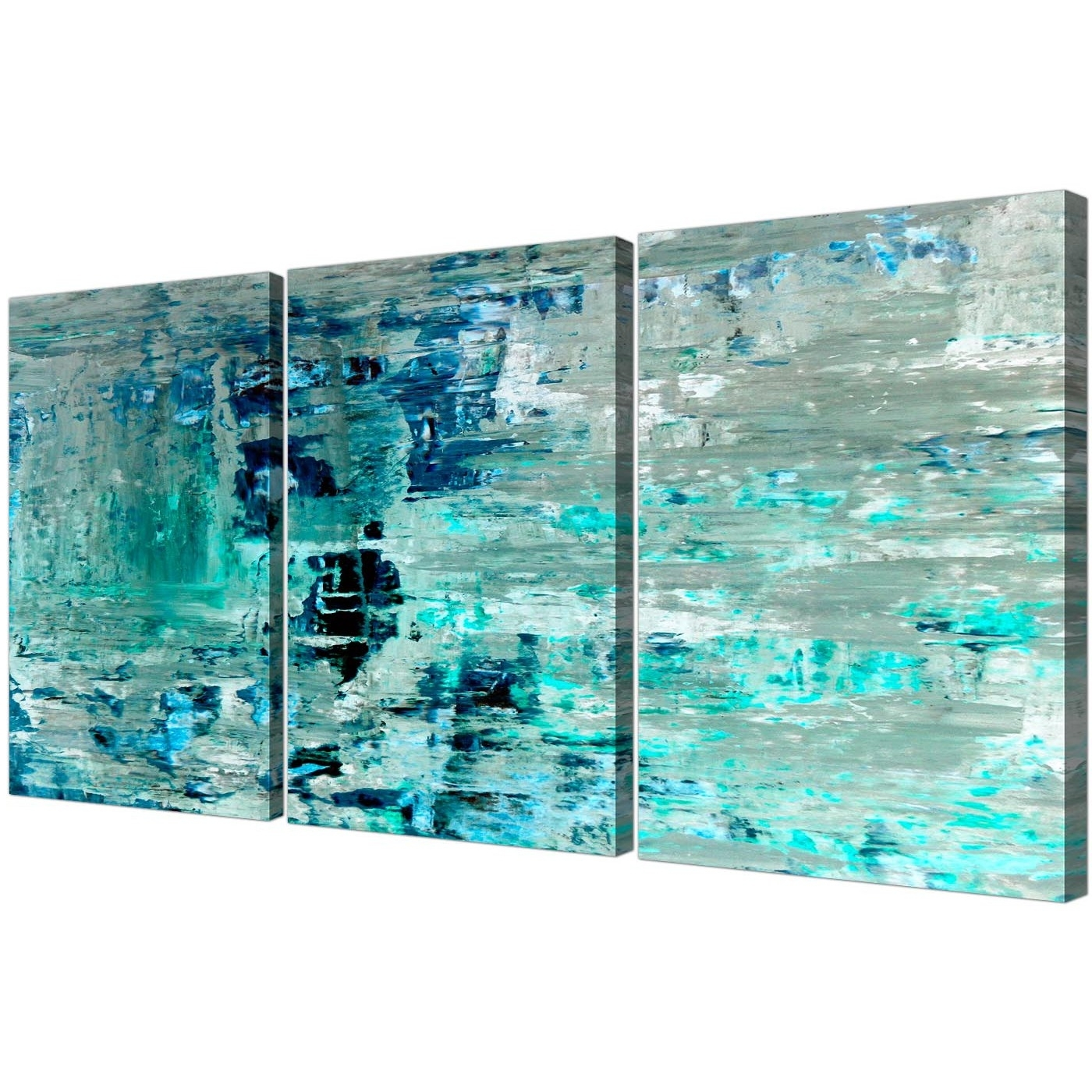 Recent Turquoise Teal Abstract Painting Wall Art Print Canvas – Multi 3 Within Teal Wall Art (Gallery 1 of 15)