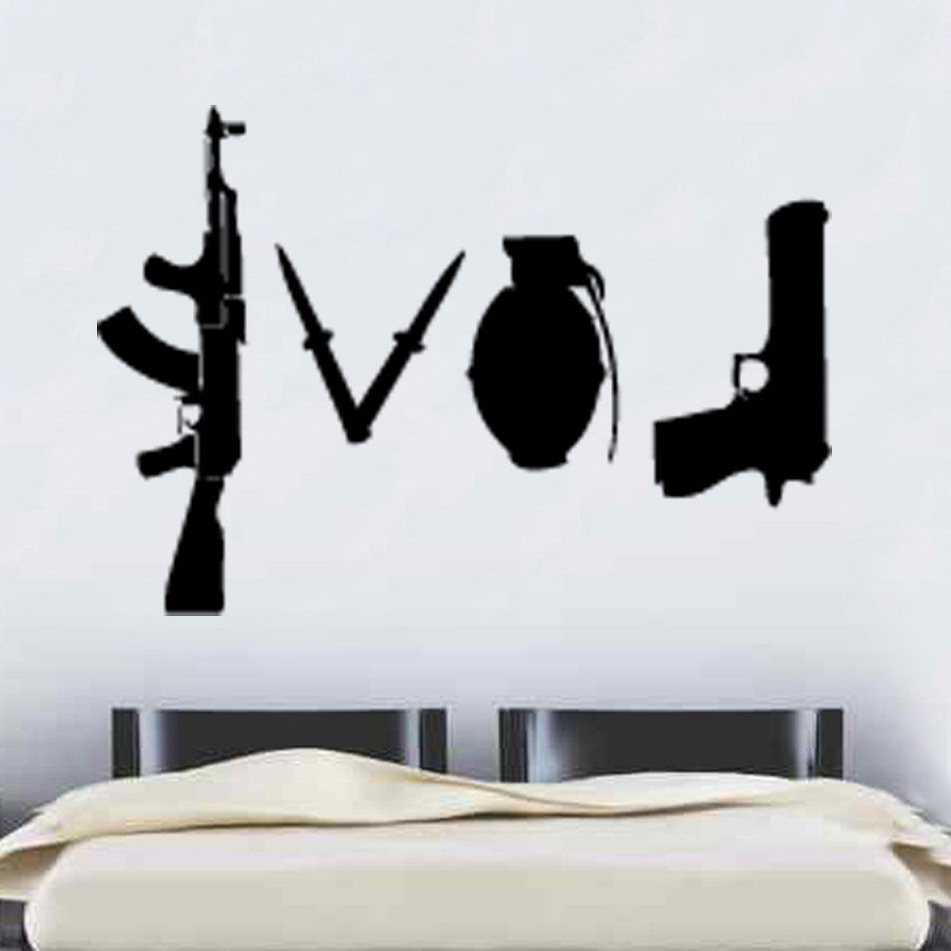 Recent W227 Banksy Love Weapons Wall Sticker Art Graffitti Street Vinyl Regarding Wall Sticker Art (Gallery 5 of 15)