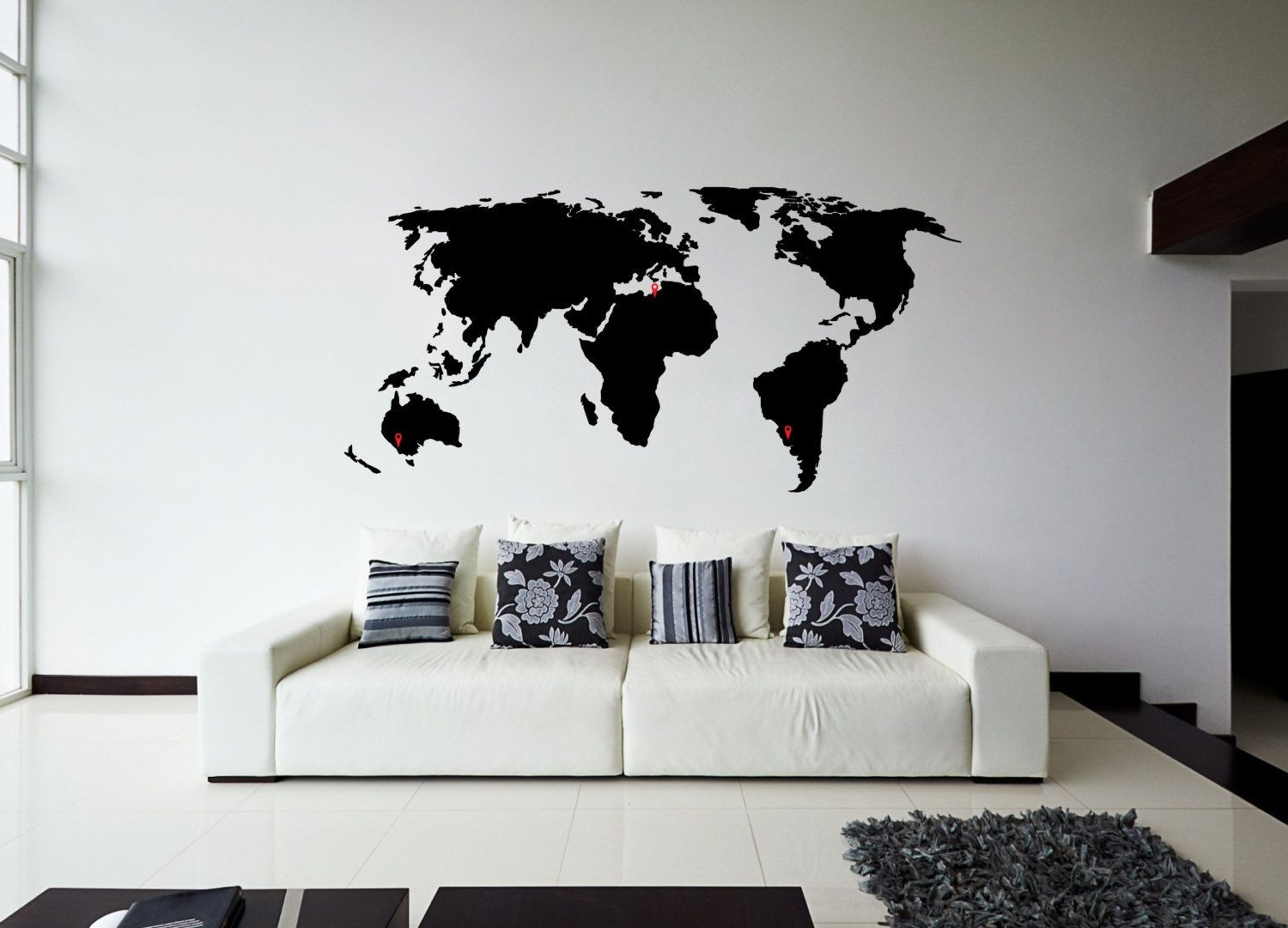 Recent Wall Art Stickers World Map Pertaining To World Map Wall Sticker Design Wall Travel Decor Design Of Black Wall (View 13 of 20)