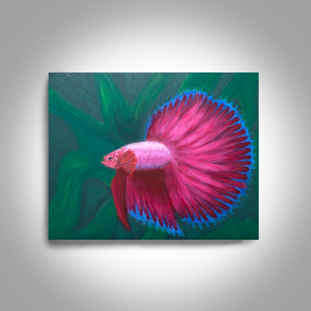 Red Betta Acrylic Fighting Fish – 20 X16 Canvas Painting, Wall Art With Regard To Well Known Fish Painting Wall Art (Gallery 8 of 20)