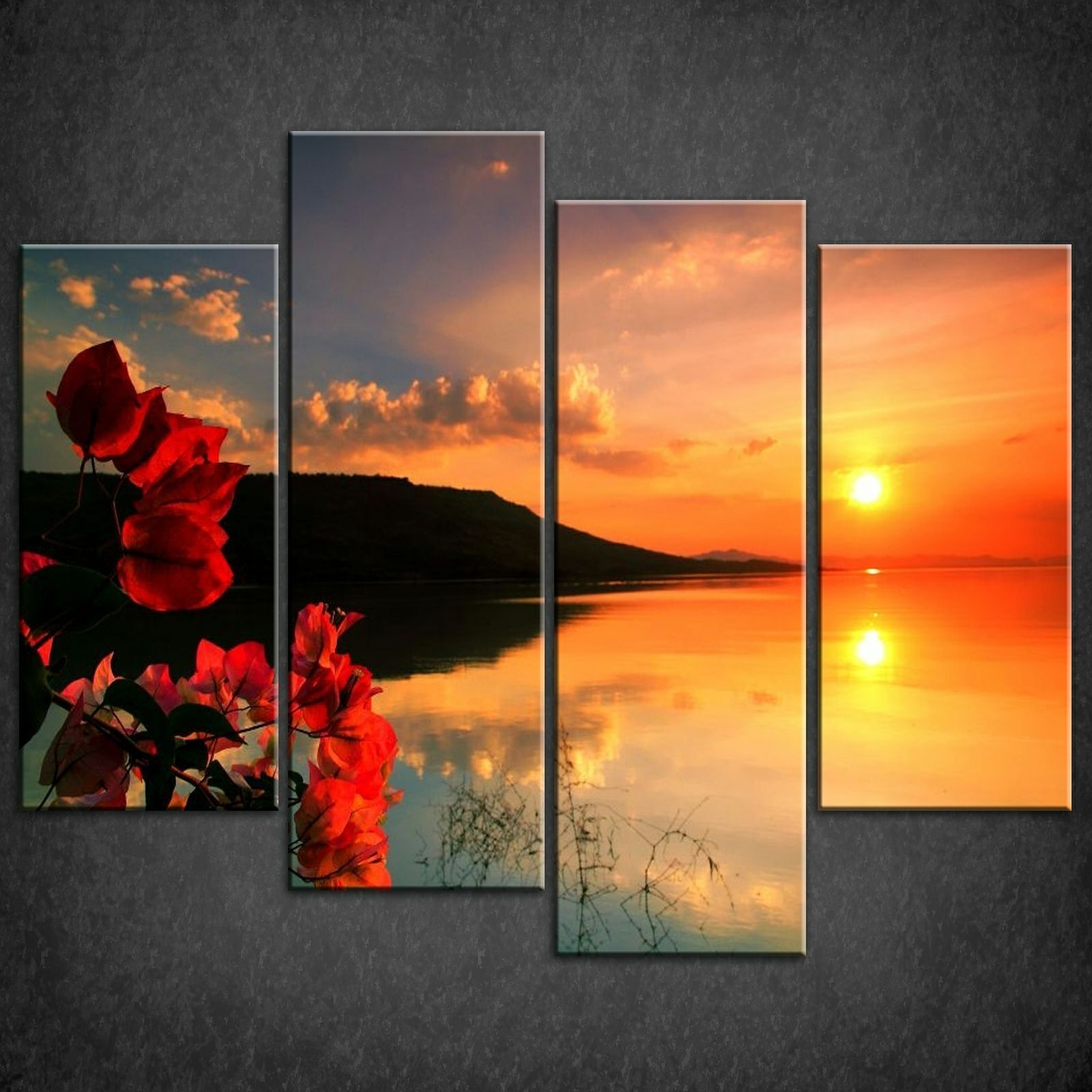 Red Calm Sunset Split Canvas Print Picture Wall Art Pertaining To Most Current Wall Canvas Art (View 8 of 15)