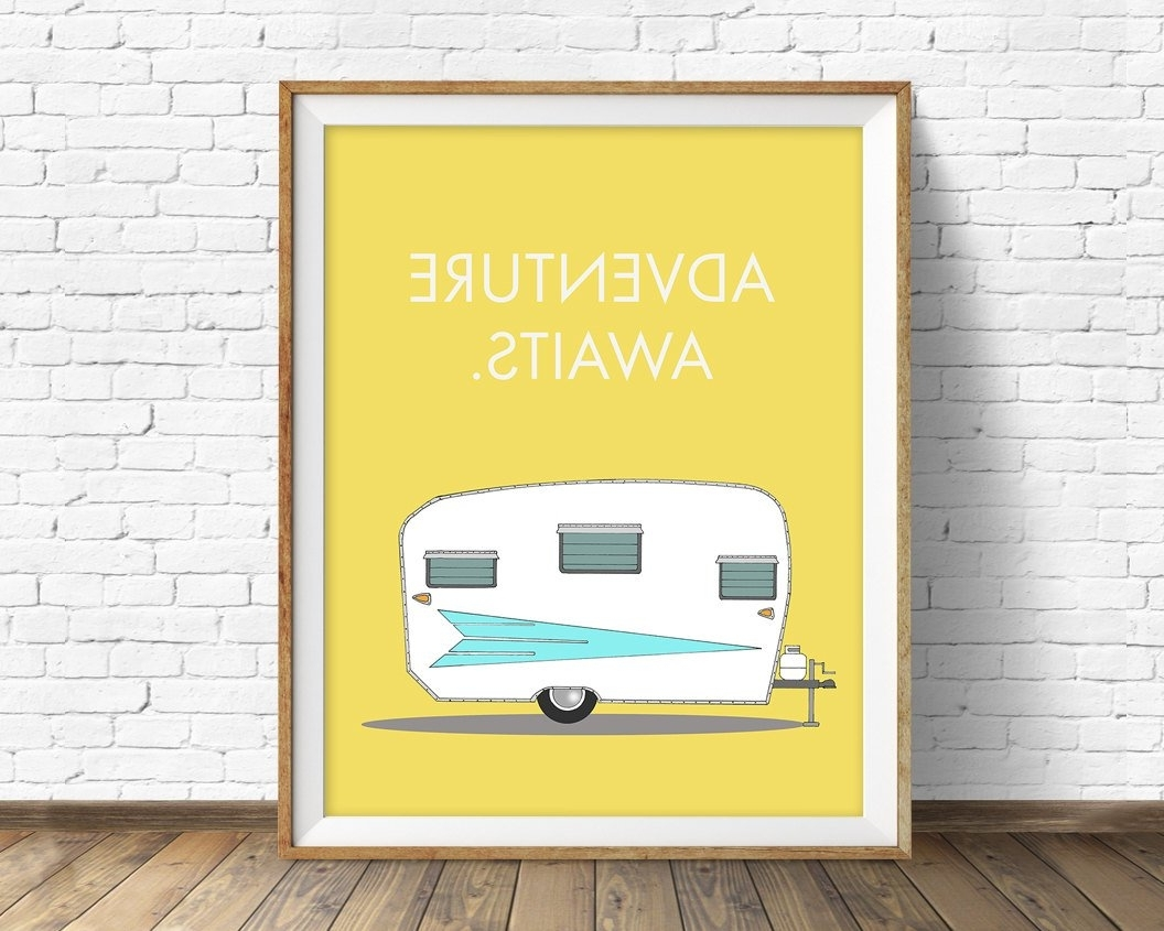 Retro Camper Art Print, Mid Century Modern Wall Art, Large Art Regarding Recent Mid Century Modern Wall Art (View 19 of 20)
