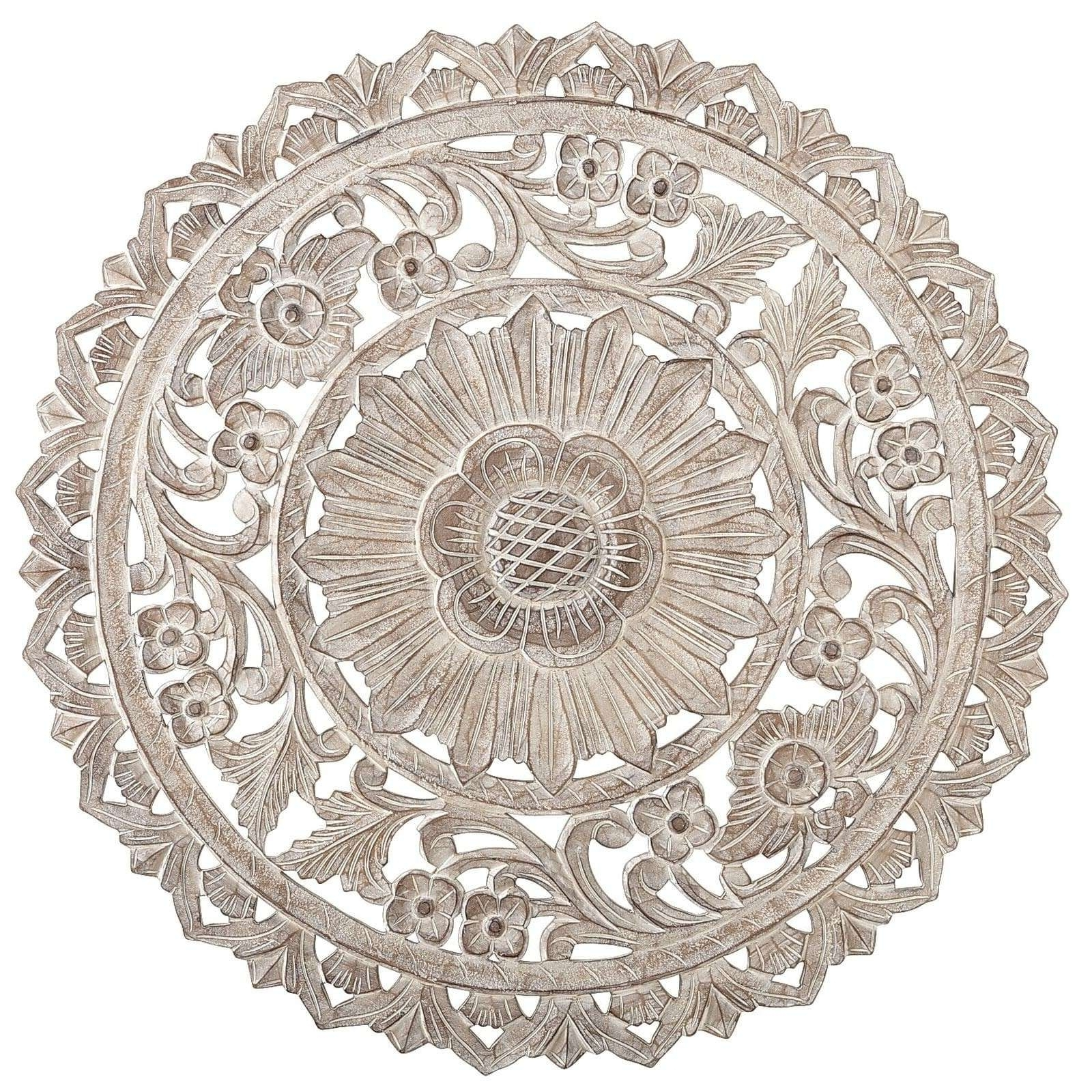 Round Medallion Wall Art White Wood Unique Carved Whitewash Decor Within Fashionable Wood Medallion Wall Art (Gallery 1 of 20)