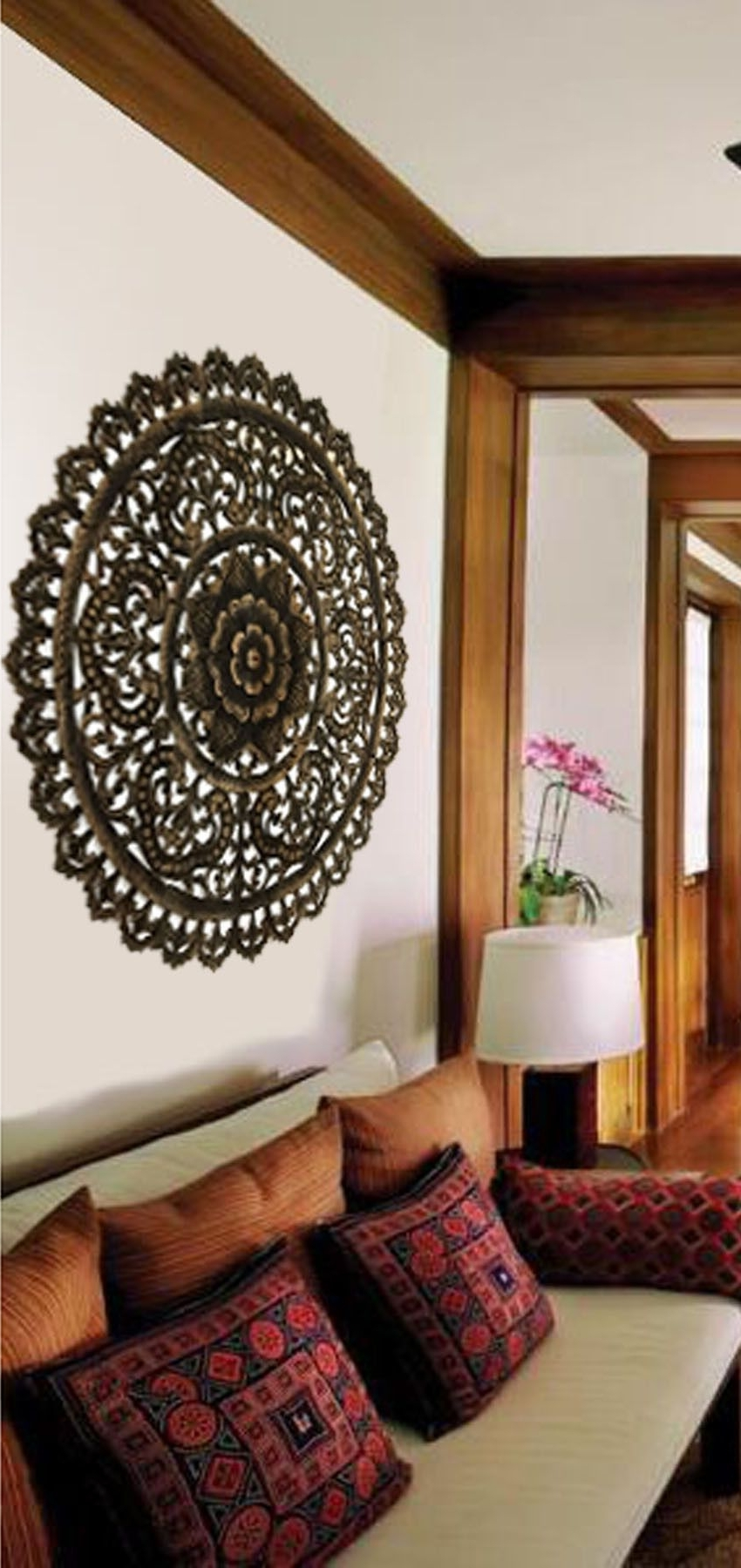 Round Wood Wall Art In Trendy Elegant Medallion Wood Carved Wall Plaque (View 10 of 15)