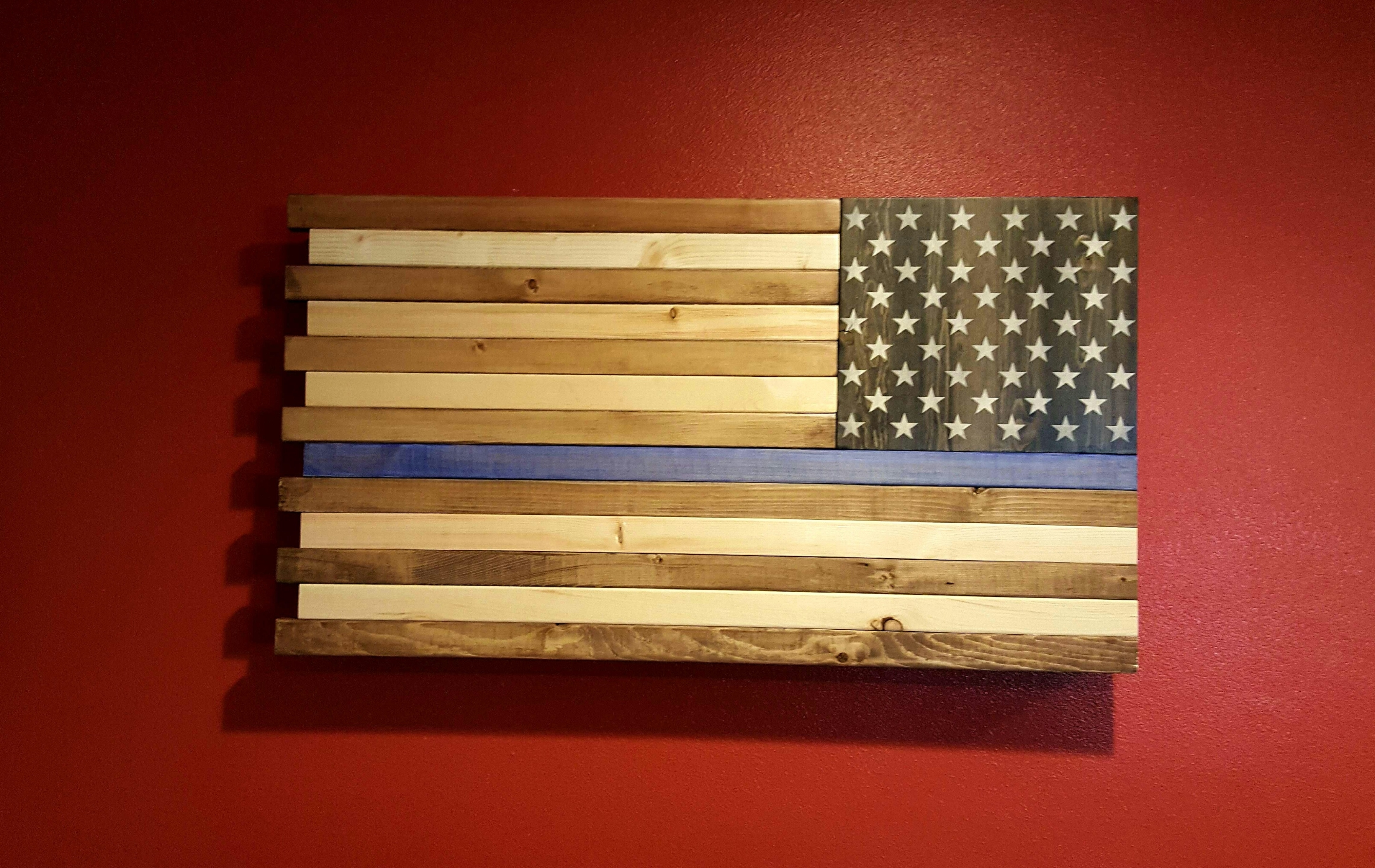 Rustic American Flag Wall Art For Most Recent The Thin Blue Line Rustic American Flag Wall Art (View 11 of 20)