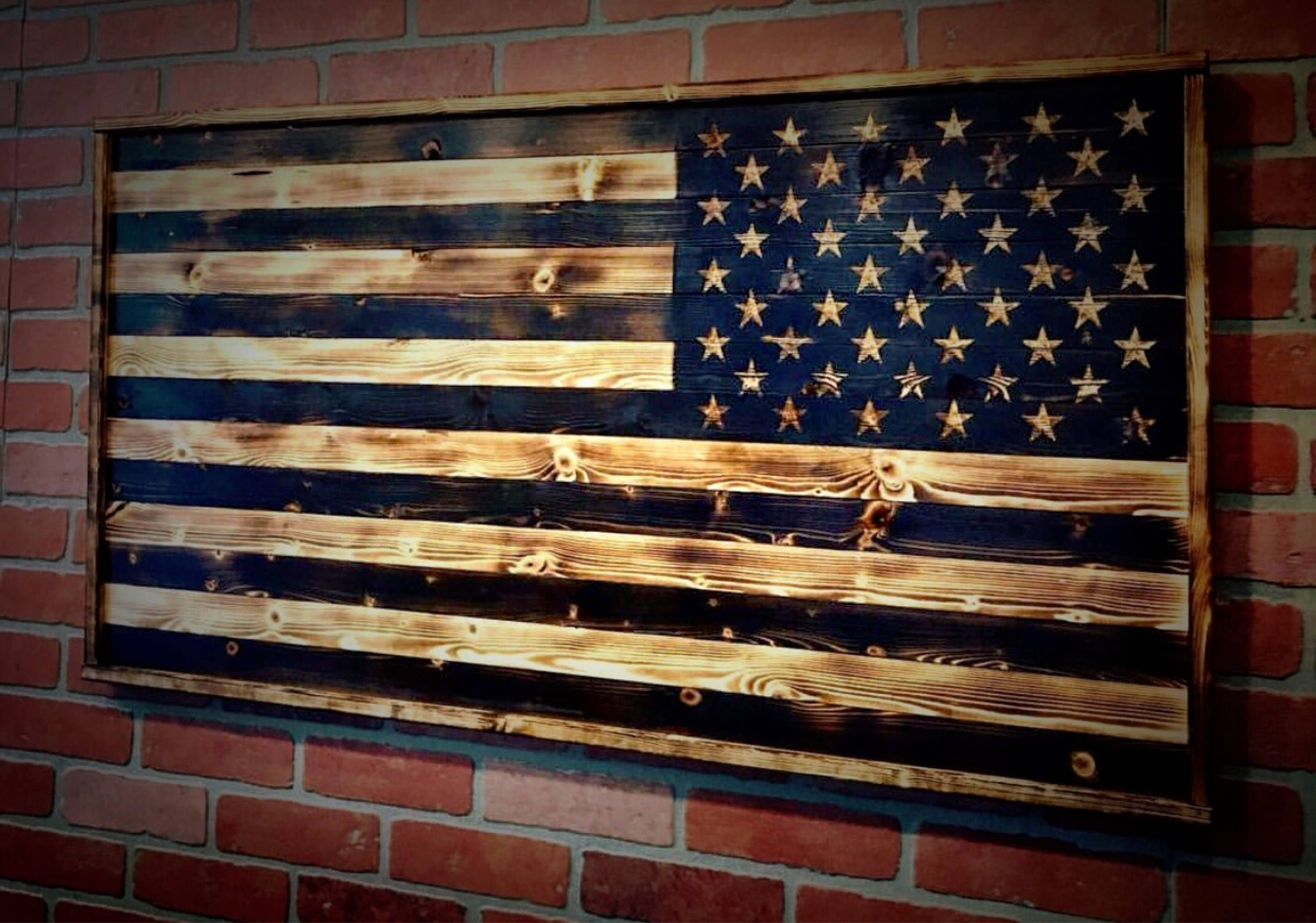 Rustic American Flag Wall Art Inside Most Up To Date Wood American Flag, Gift For Him, Wood Flag, American Flag (Gallery 11 of 20)