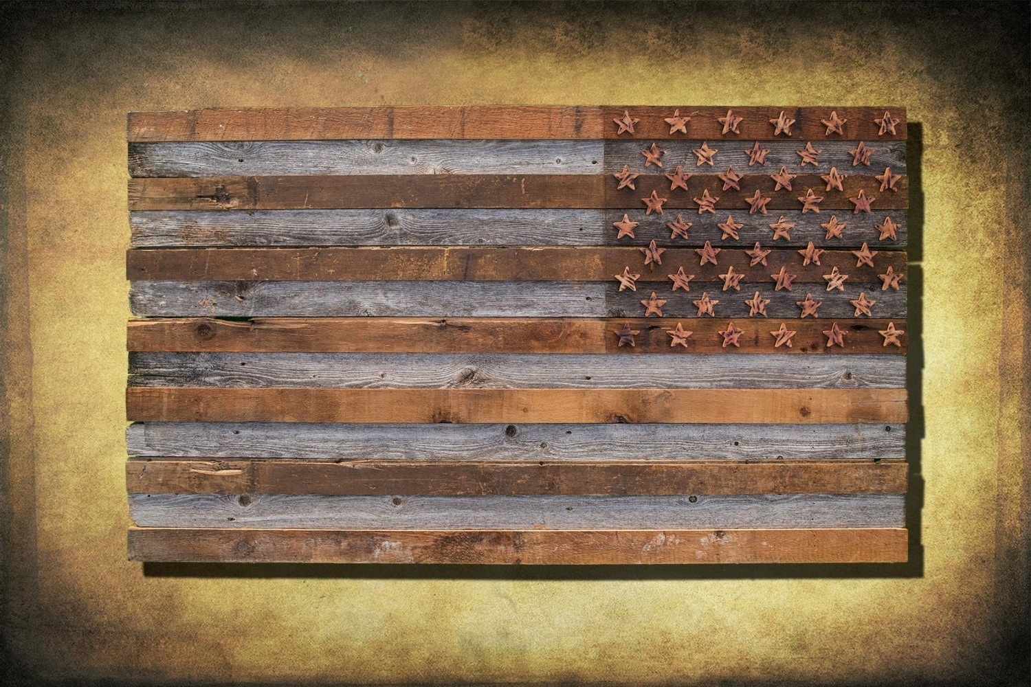 Rustic American Flag Wall Art Intended For Well Known Barnwood American Flag, 100 Year Old Wood, One Of A Kind, 3D, Wooden (Gallery 7 of 20)