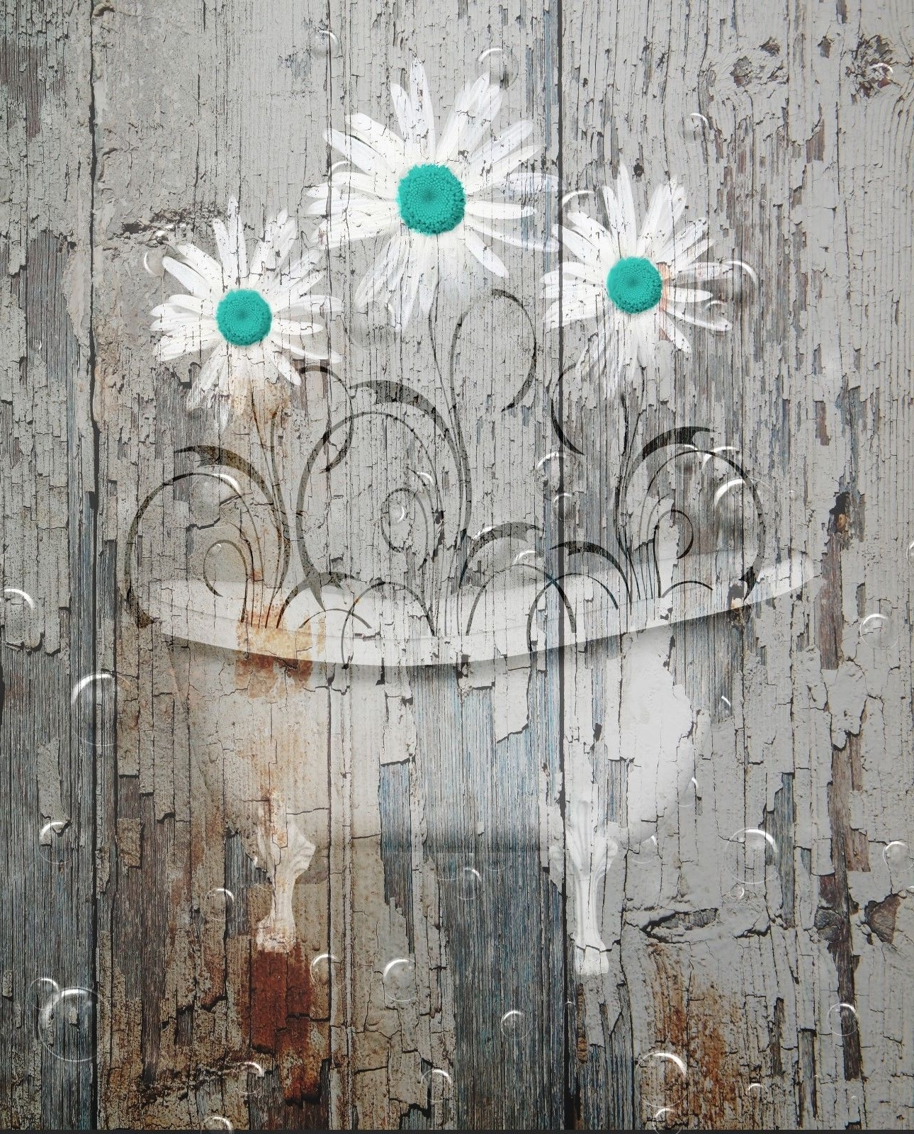Rustic Distressed Daisy Flowers In Bathtub, Farmhouse Country Wall Intended For Most Recently Released Country Wall Art (View 15 of 20)