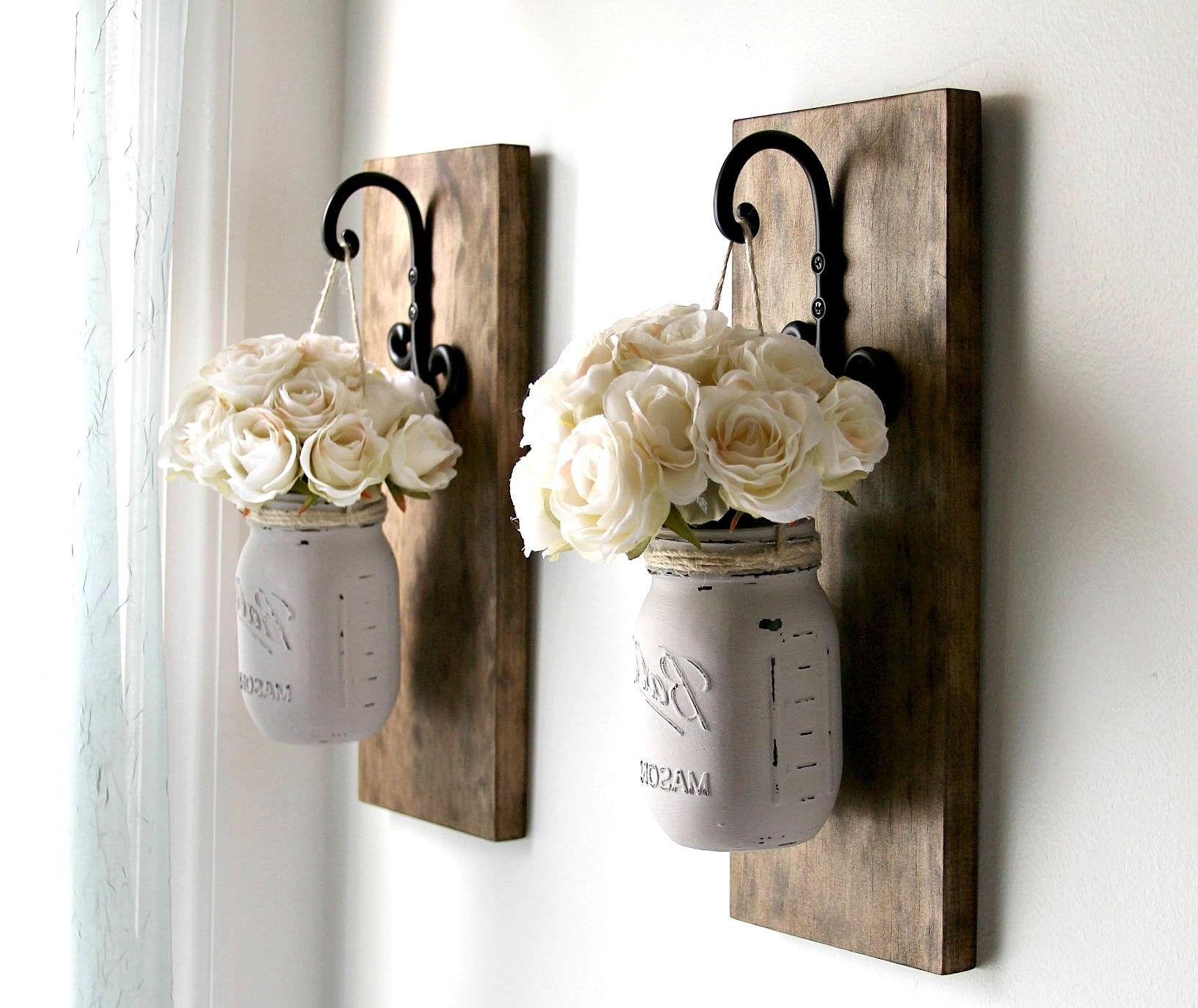Rustic Sconces Rustic Wall Decor Mason Jars Sconce Farmhouse (View 16 of 20)