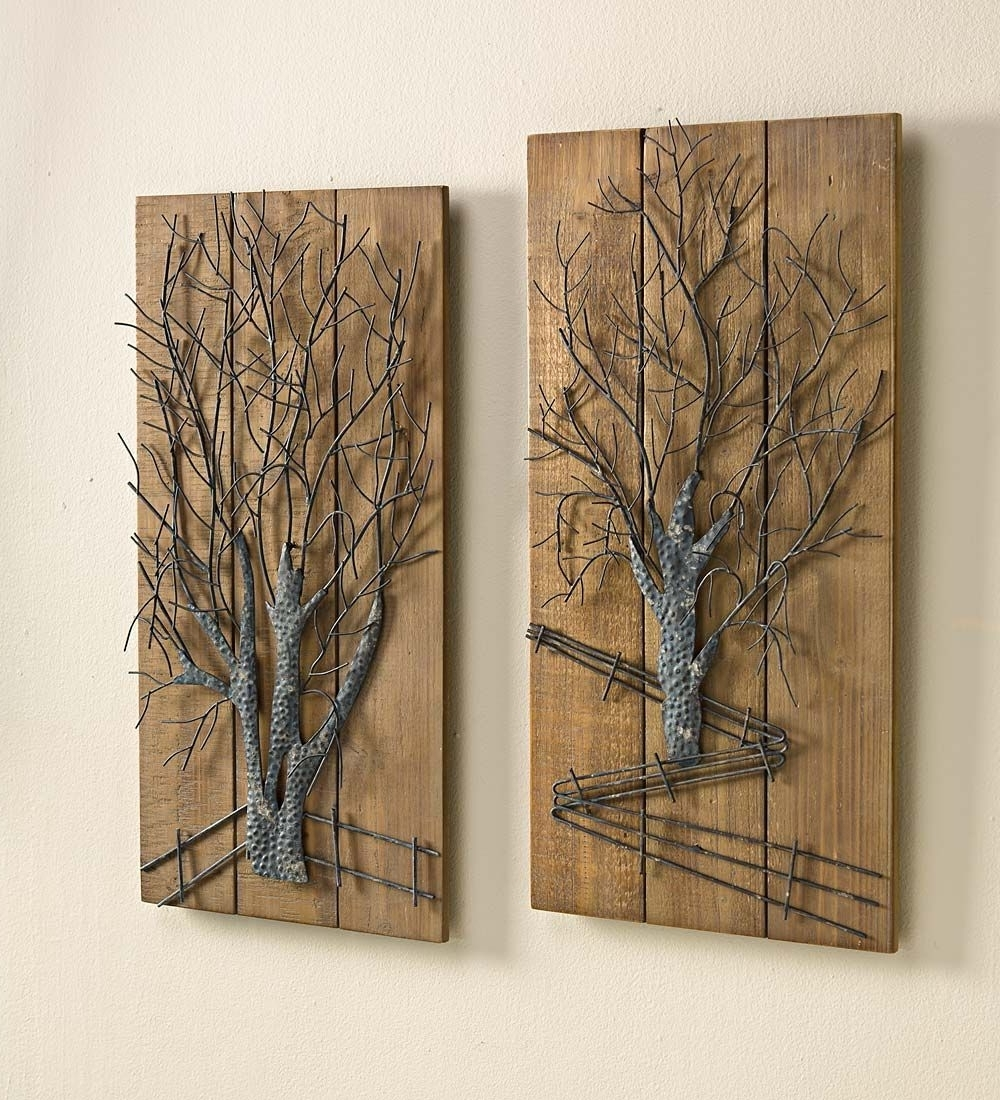 Rustic Set Of Wooden Inside Wood And Metal Wall Art (Gallery 3 of 20)