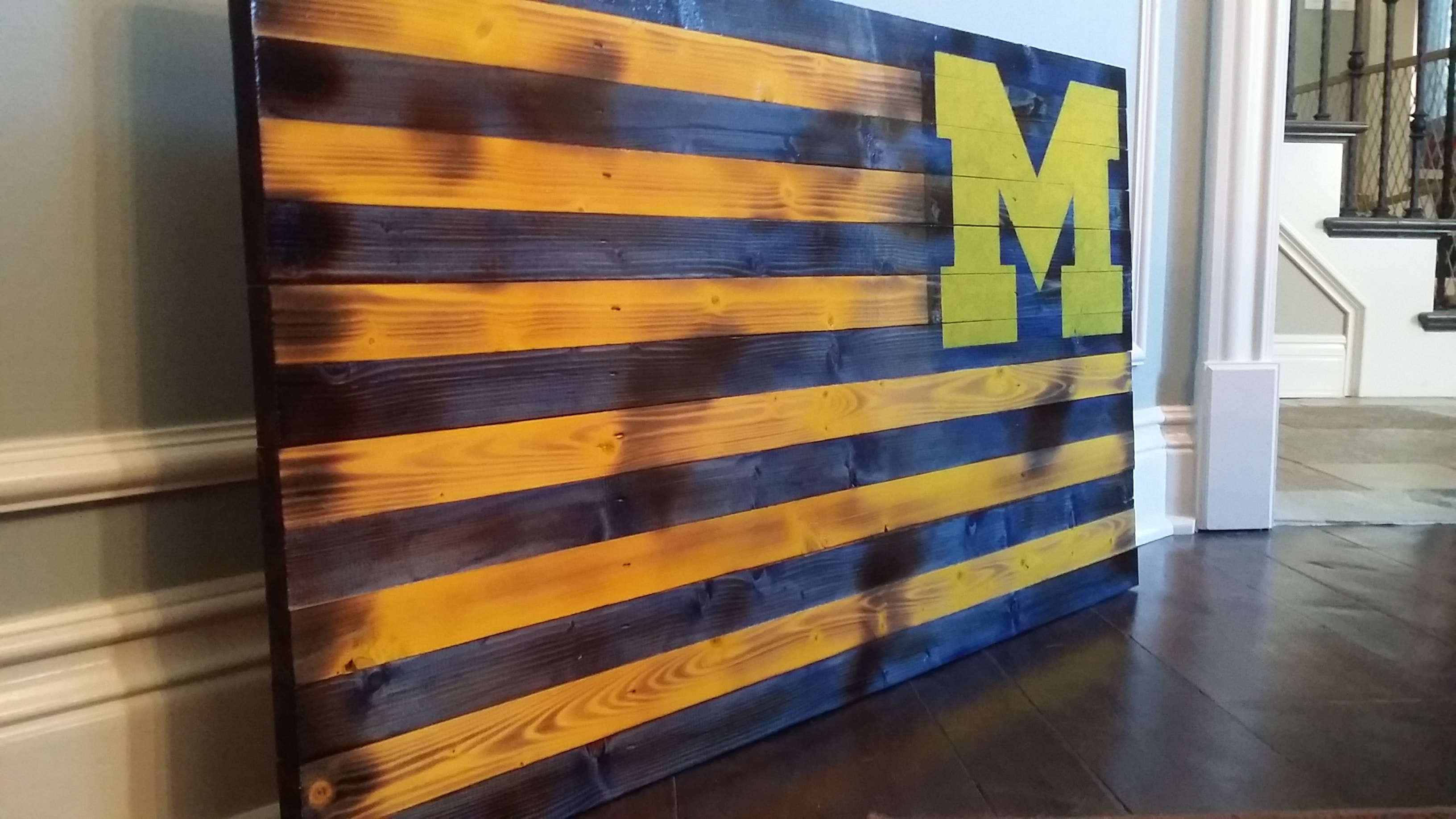 Rustic U Of M Flag With Well Known Michigan Wall Art (Gallery 2 of 20)