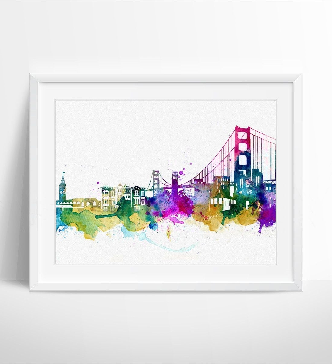 San Francisco Wall Art For Current San Francisco, Watercolor Skyline Art Print, Wall Art San Francisco (View 19 of 20)