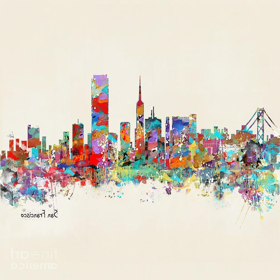 San Francisco Wall Art Throughout Most Popular San Francisco California Skyline Paintingbri Buckley (View 2 of 20)