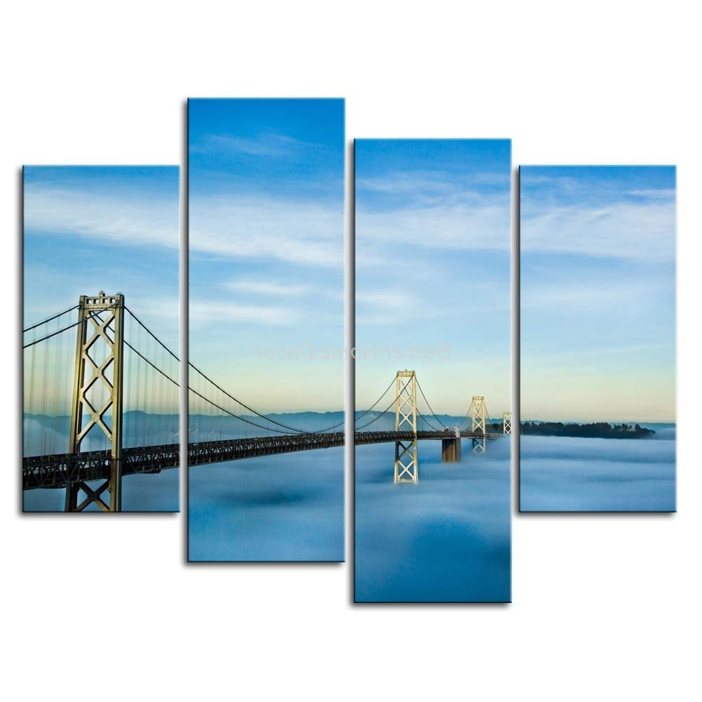 San Francisco Wall Art Throughout Recent 3 Piece Wall Art Painting San Francisco Oakland Bay Bridge Picture (View 14 of 20)
