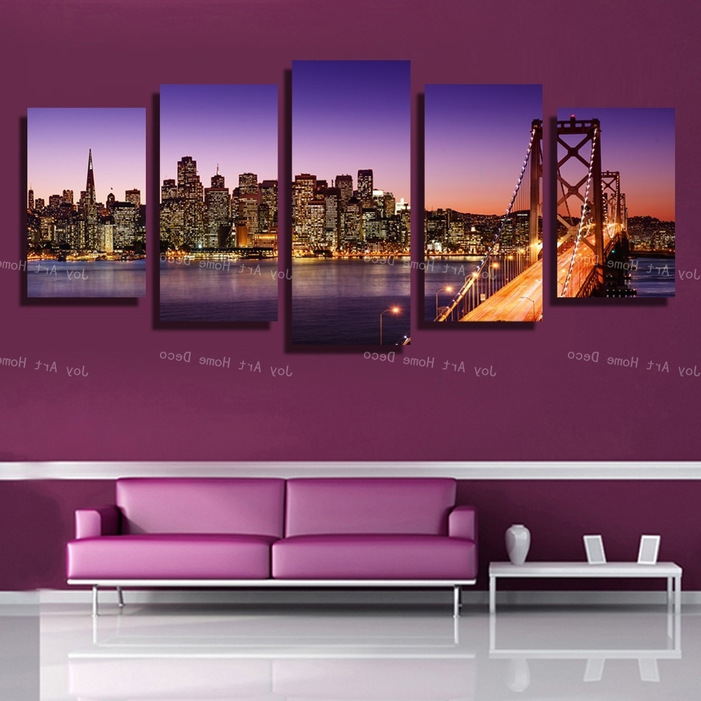 San Francisco Wall Art With Newest 5 Panels San Francisco Bay Bridge Canvas Wall Art Print On Canvas (View 3 of 20)