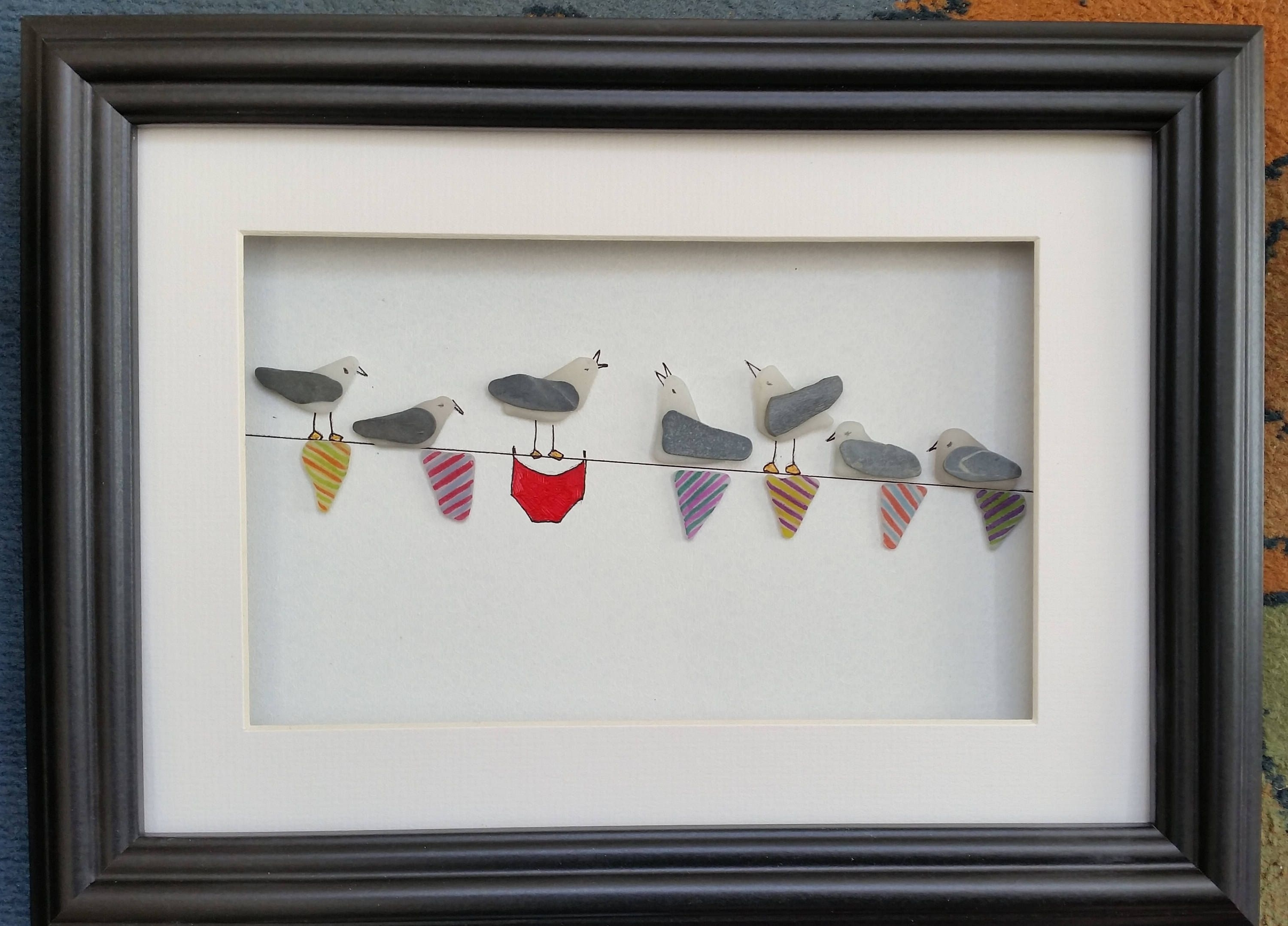 Sea Glass Wall Art Regarding Most Popular Sea Glass Art, Sea Glass Seagulls, Sea Gulls On Bunting, Pebble (View 14 of 15)