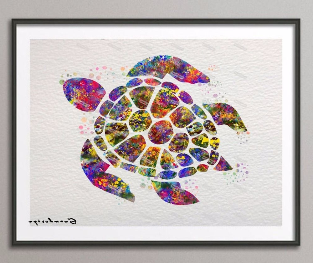 Sea Turtle Canvas Wall Art Within Most Current Find More Painting & Calligraphy Information About Diy Original (View 16 of 20)