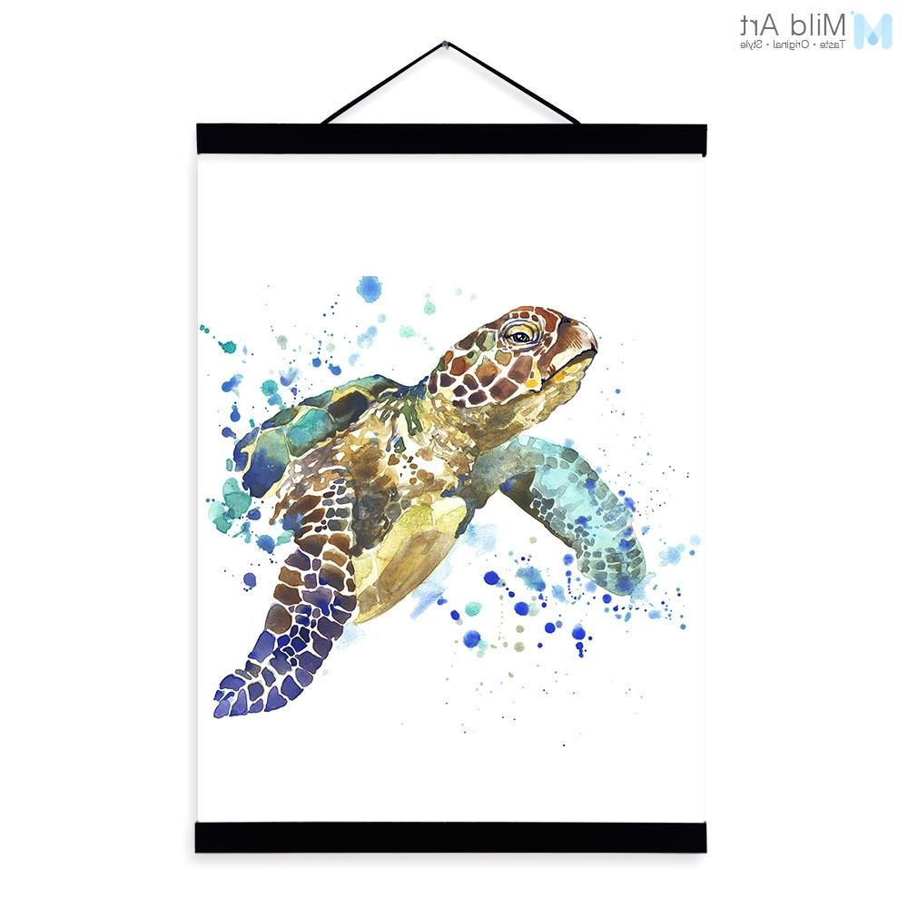 Sea Turtle Wood Wall Art Sea Turtle Watercolor Fashion Animal With Regard To Preferred Sea Turtle Canvas Wall Art (View 17 of 20)