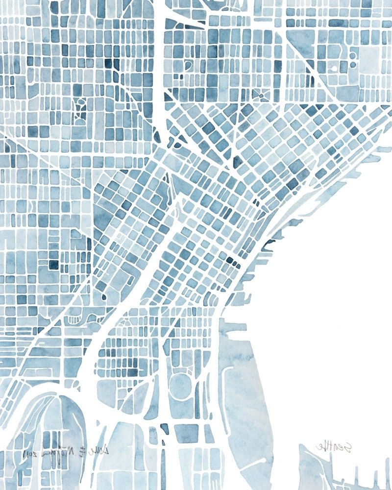 Seattle Map Wall Art Pertaining To Well Known Seattle Washington Blueprint 10x8 City Map Watercolor Wall Art Ready (View 2 of 20)