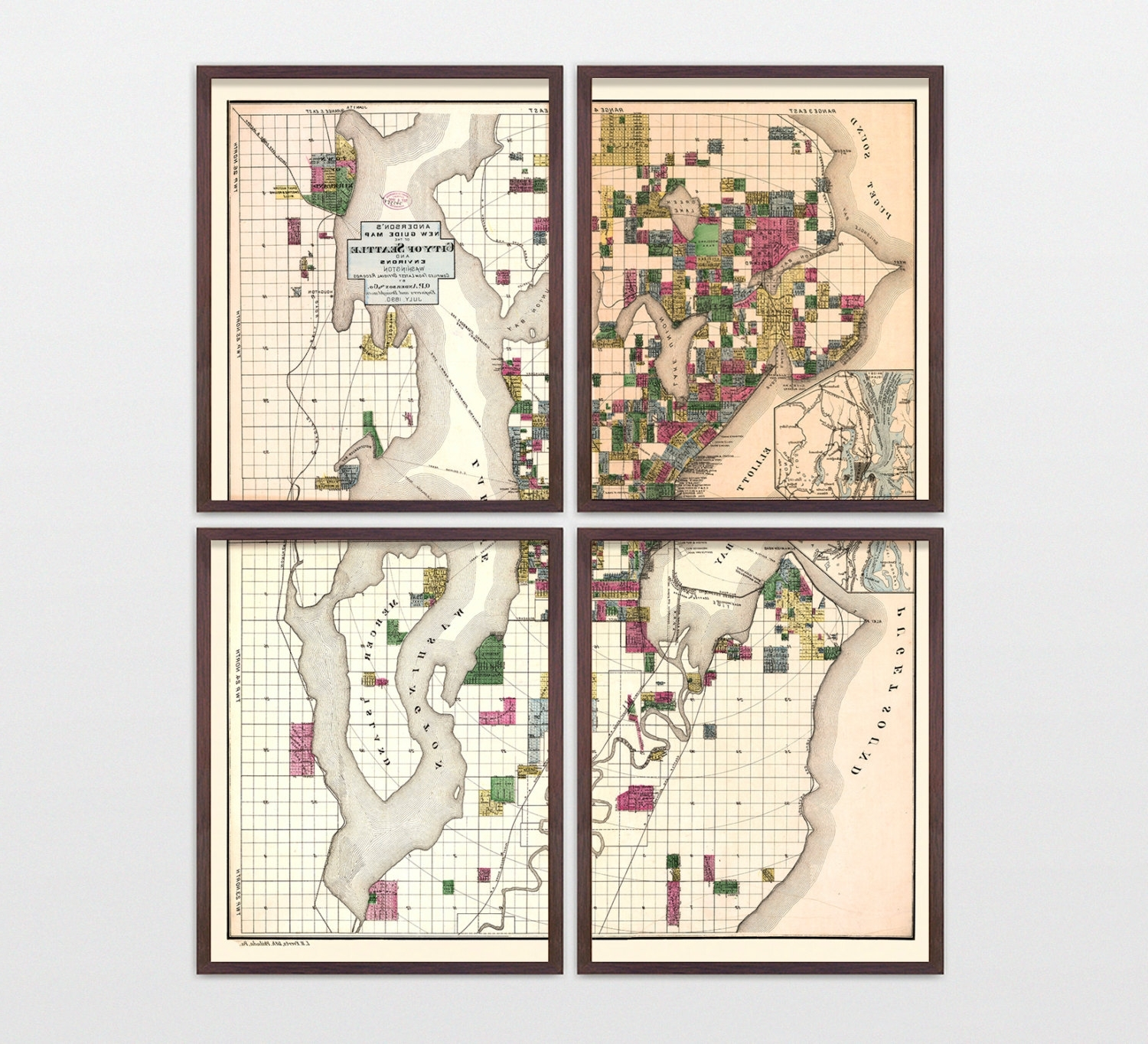 Seattle Map Wall Art Regarding Well Known Seattle Map – Antique Map – Archival Reproduction – Seattle (View 7 of 20)