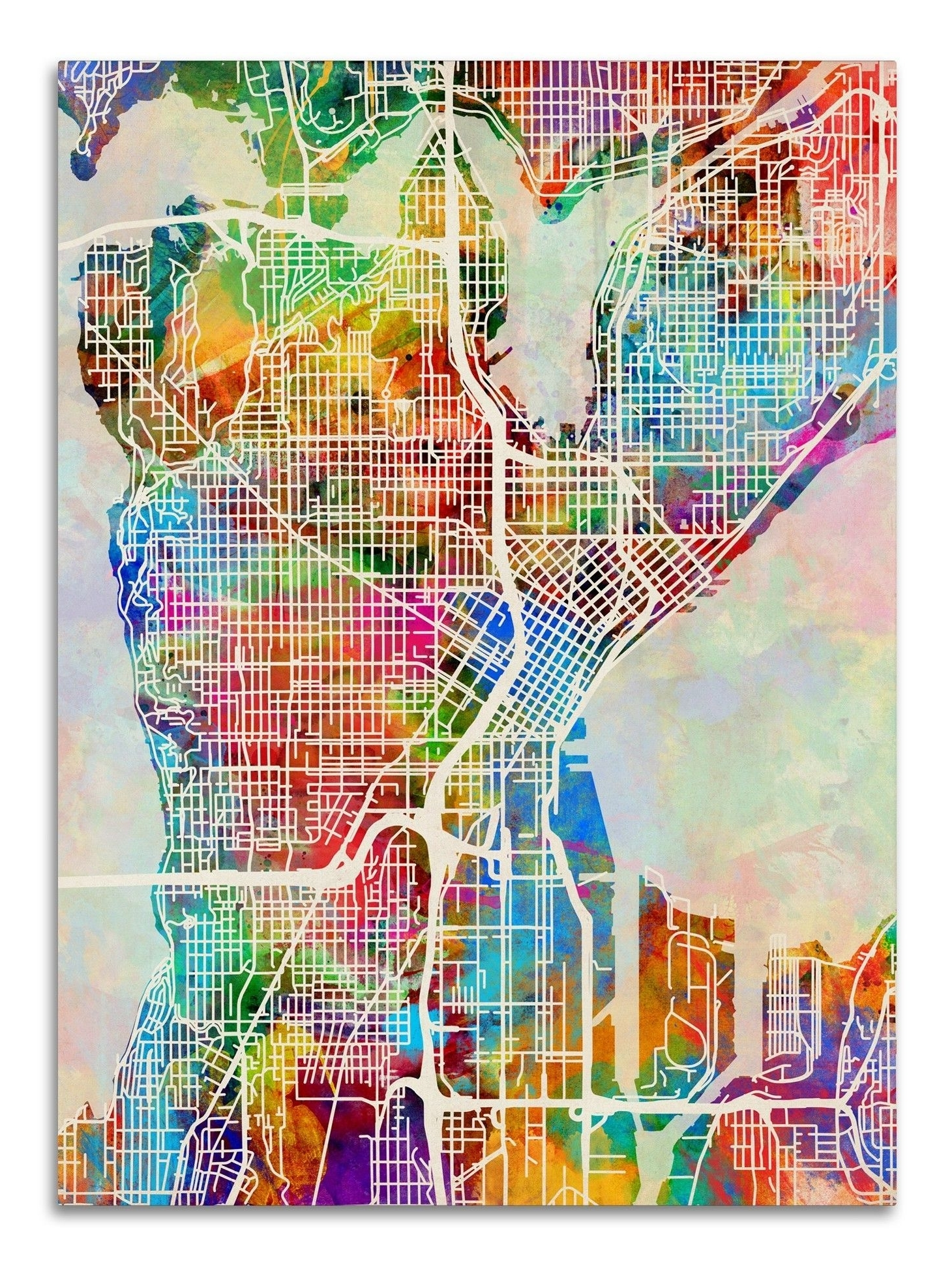 Seattle Map Wall Art Throughout Preferred Seattle Washington Street Mapmichael Tompsett Graphic Art On (View 9 of 20)