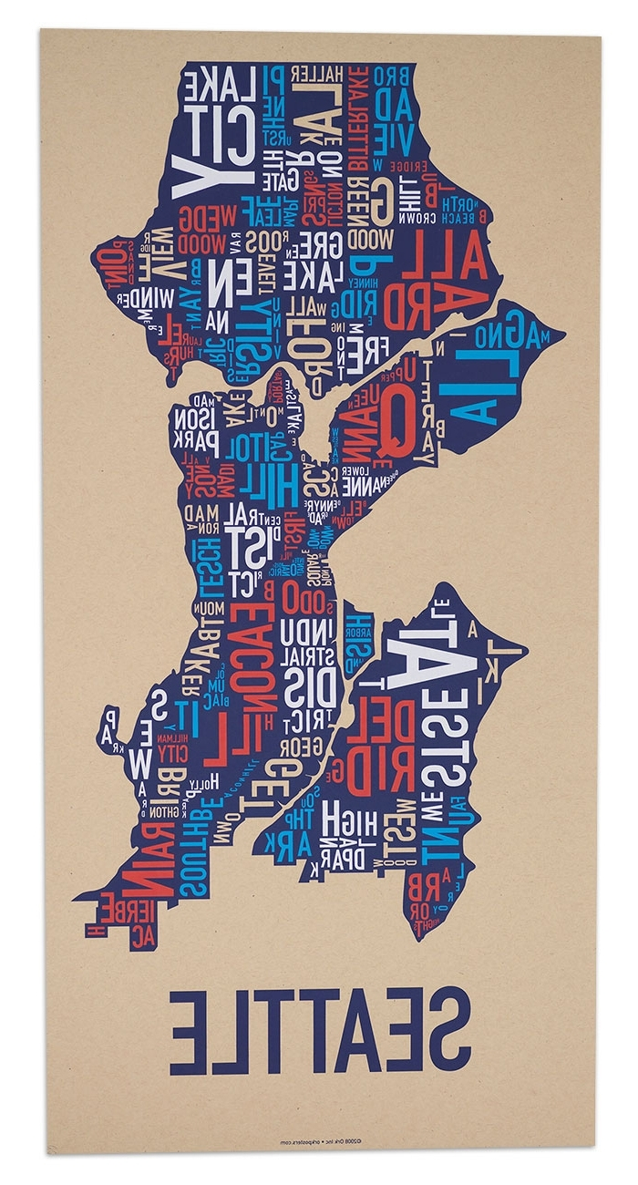 Seattle Neighborhood Type Map Posters & Prints – Made In The Usa In Most Recent Seattle Map Wall Art (View 4 of 20)