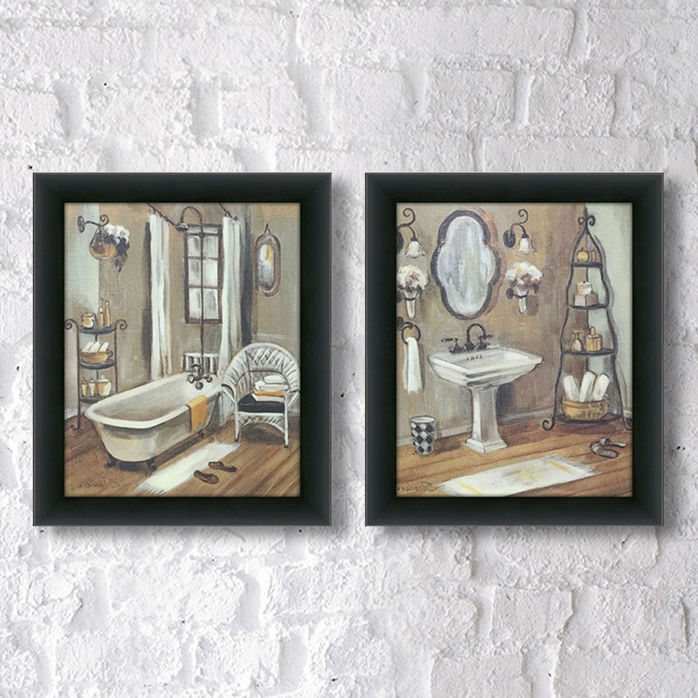 "Set Of 2 Framed Wall Art Intended For Most Current Shop Maison Rouge Holmes ""bathroom 3"" Framed & Canvassed Wall Art (View 14 of 20)"
