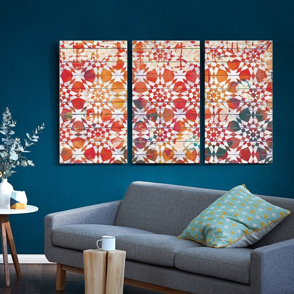 Set Of 3 Moroccan Tile Canvas Prints – T&w Art Collection – T&w Art Regarding 2018 Tile Canvas Wall Art (View 4 of 20)