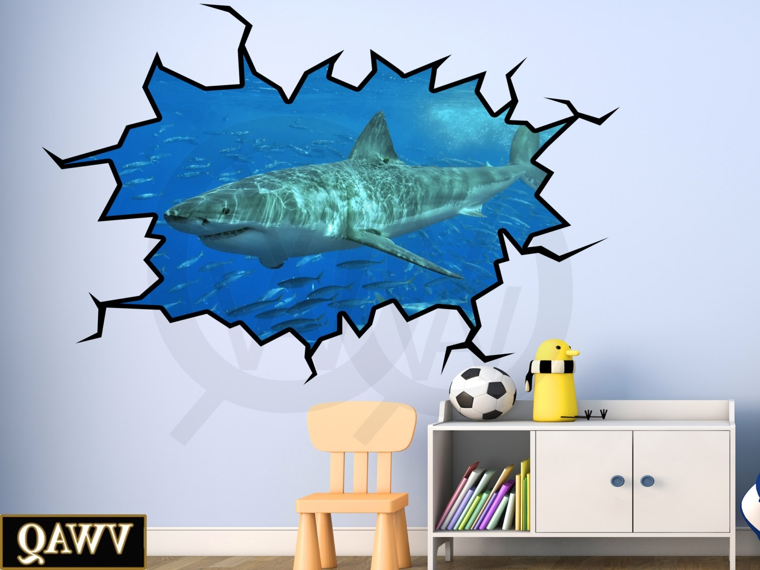 Shark Wall Decal 3D Wall Art Peel And Stick Great White Shark Throughout Well Known Stick On Wall Art (View 8 of 20)