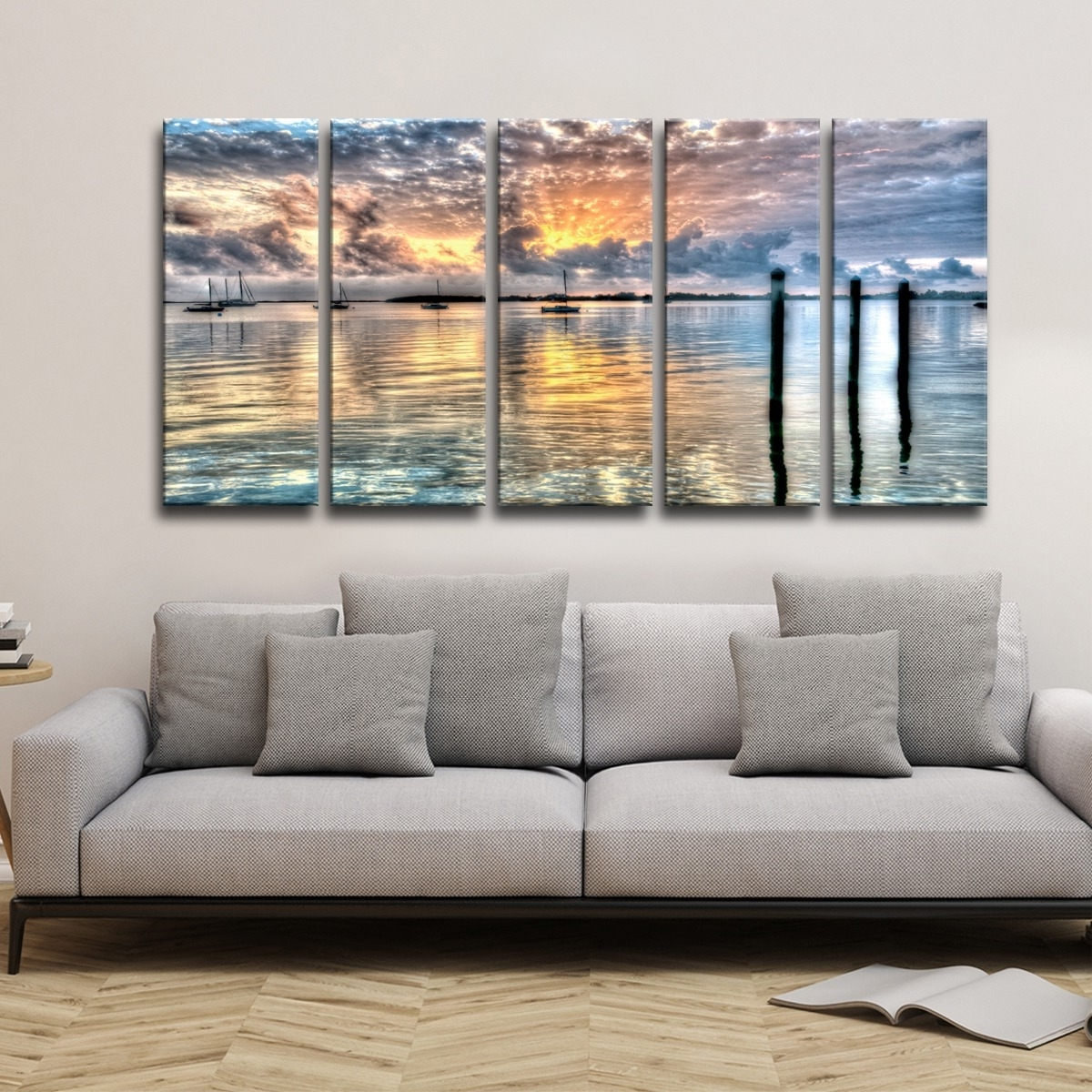 Shop Bruce Bain 'calm Waters' 5 Piece Canvas Wall Art – Free Throughout Most Popular Five Piece Canvas Wall Art (View 16 of 20)