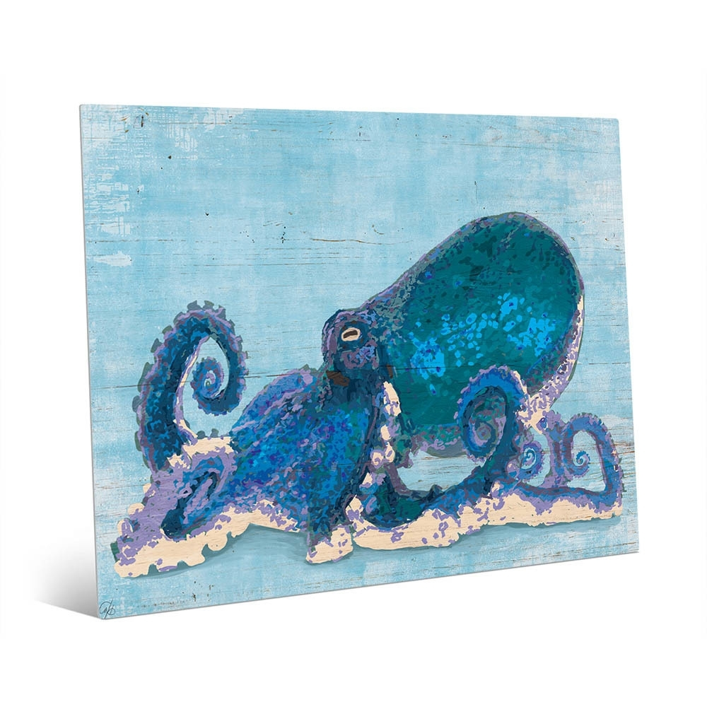 Shop Dat Cool Blue Octopus Wall Art Print On Metal – On Sale – Free Regarding Most Current Octopus Wall Art (View 16 of 20)