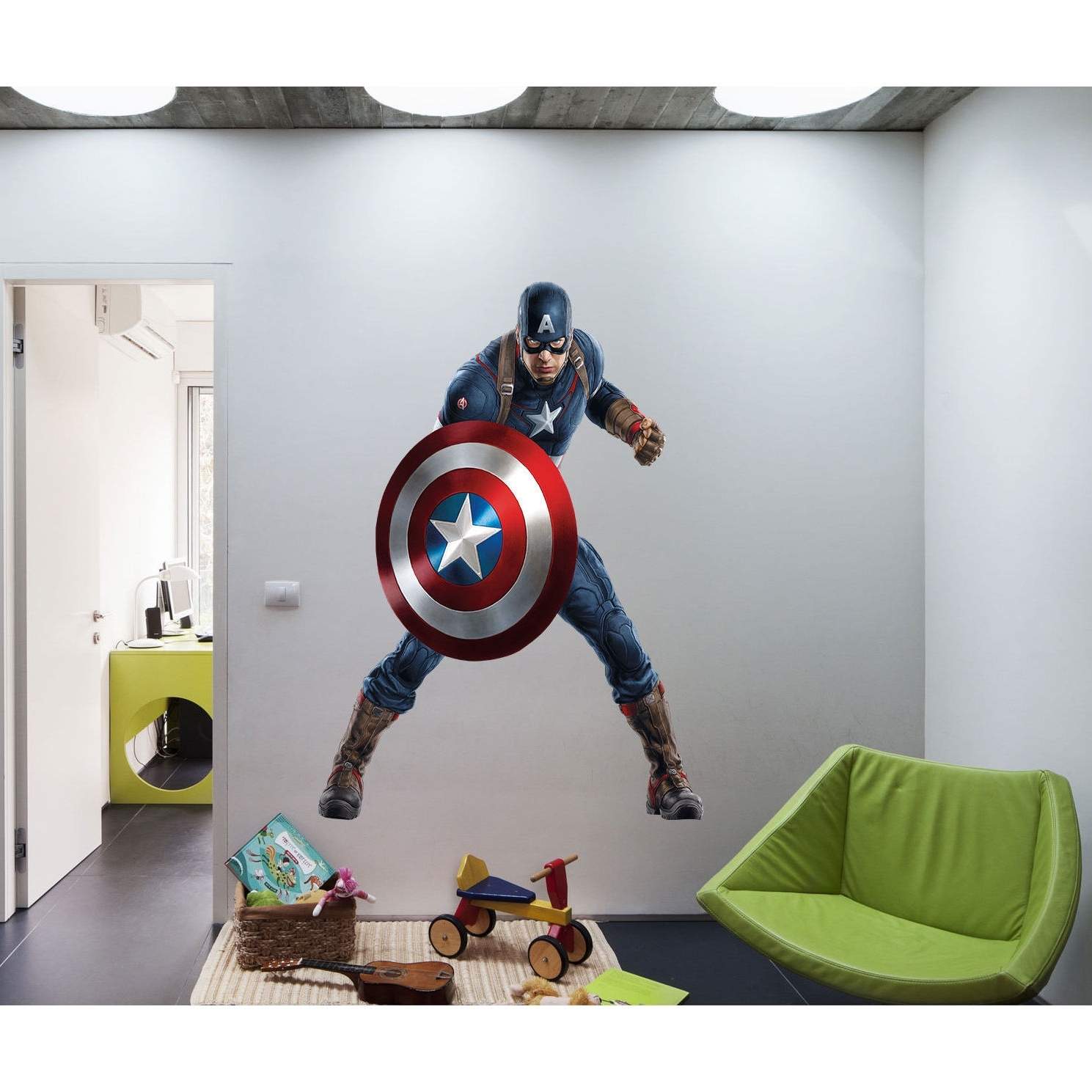 Shop Full Color Superhero Captain America Sticker, Decal, Wall Art Intended For Most Up To Date Captain America Wall Art (View 12 of 15)