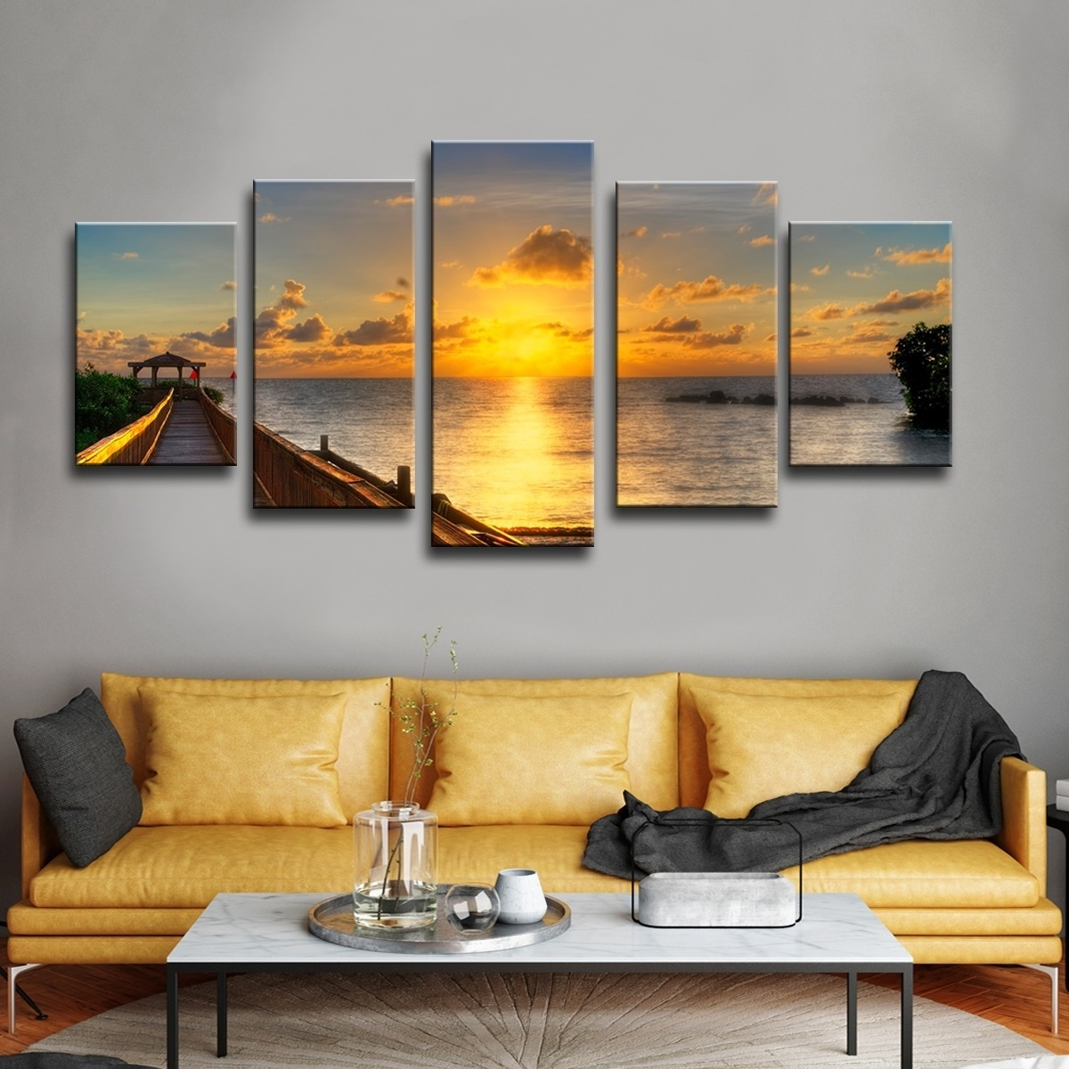 Shop Havenside Home Key's Sunrise' 5 Piece Set Canvas Wall Art For Famous Overstock Wall Art (View 15 of 20)