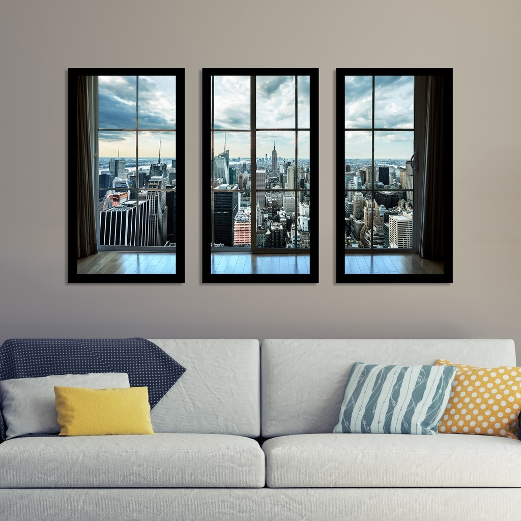 "Shop "" Newyork Window"" Framed Plexiglass Wall Art Set Of 3 – On Sale For Fashionable Window Frame Wall Art (View 10 of 15)"