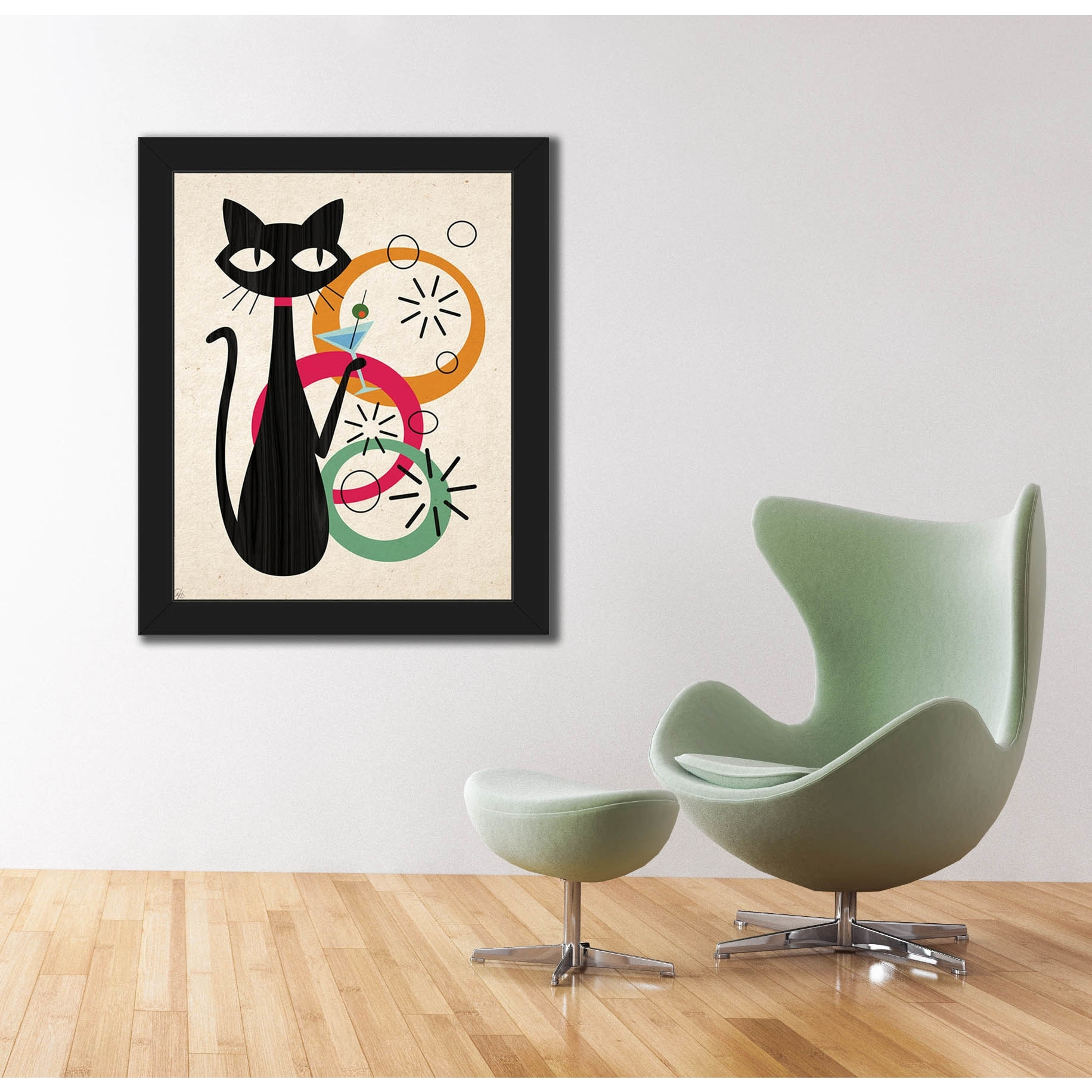 Shop Retro Martini Cat Mod Framed Canvas Wall Art Print – On Sale With Regard To Fashionable Cat Canvas Wall Art (Gallery 17 of 20)