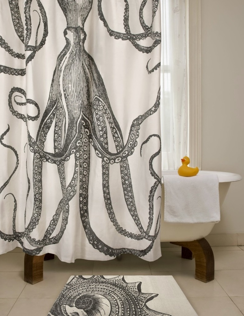 Shower Curtain Wall Art For 2017 Diy Octopus Art – House Of Jade Interiors Blog (Gallery 4 of 20)