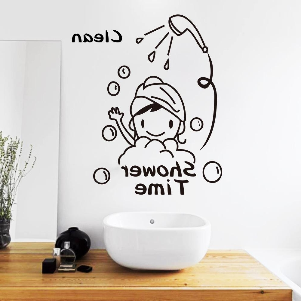 Shower Time Bathroom Wall Decor Stickers Lovely Child Removable Regarding Most Recently Released Home Decor Wall Art (View 7 of 20)
