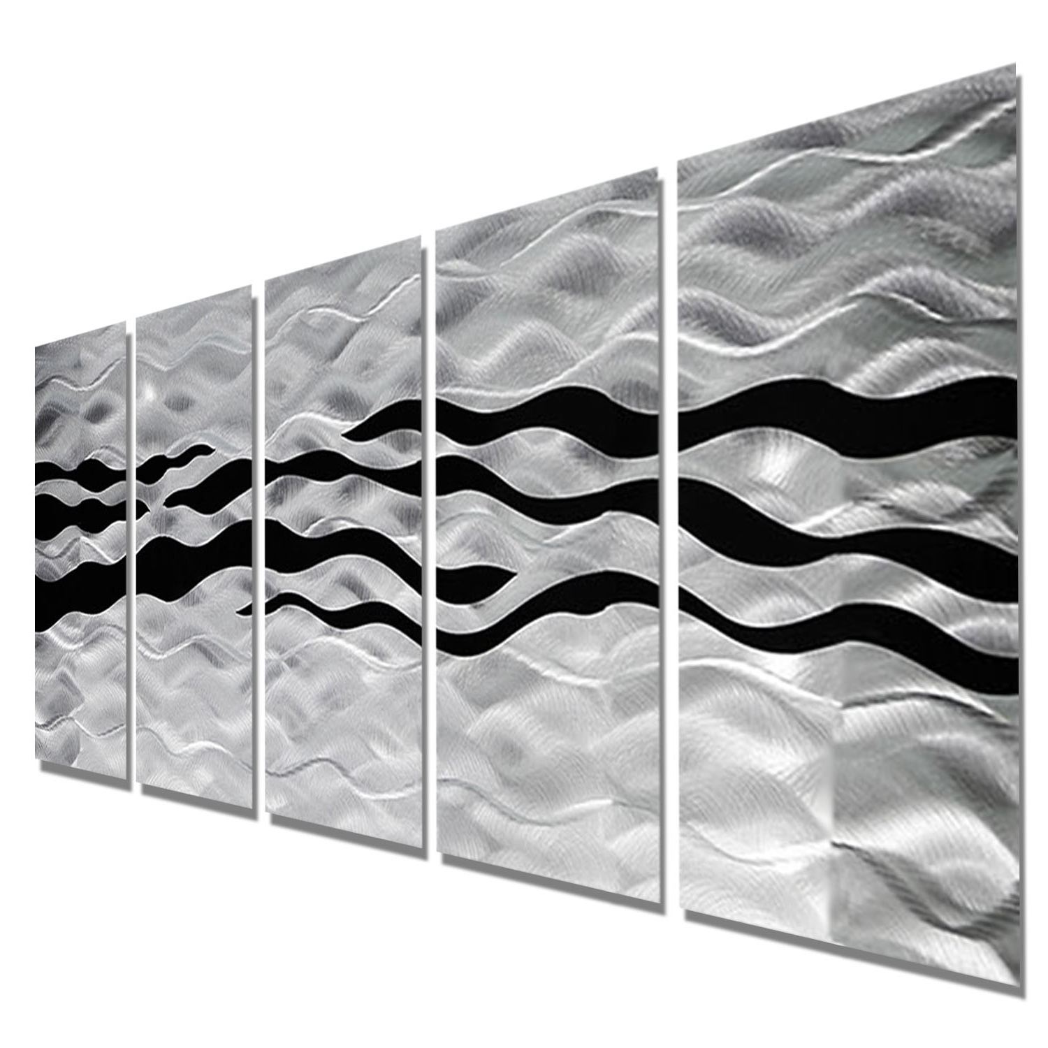 Silver Metal Wall Art With Recent Onyx Oceana – Silver And Black Metal Wall Art – 5 Panel Wall Décor (View 14 of 20)