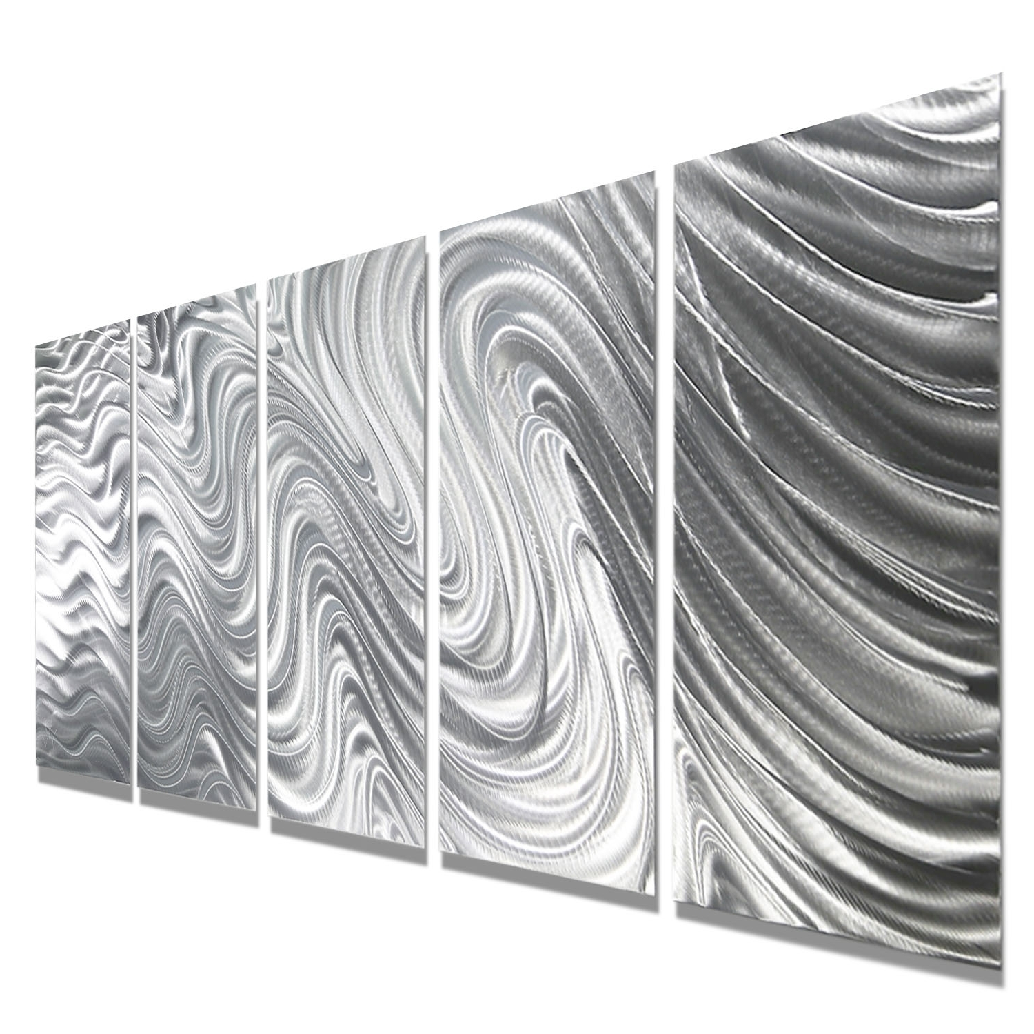 Silver Metal Wall Art Within 2017 Mirage – Silver Metal Wall Art – 5 Panel Wall Décorjon Allen (View 12 of 20)