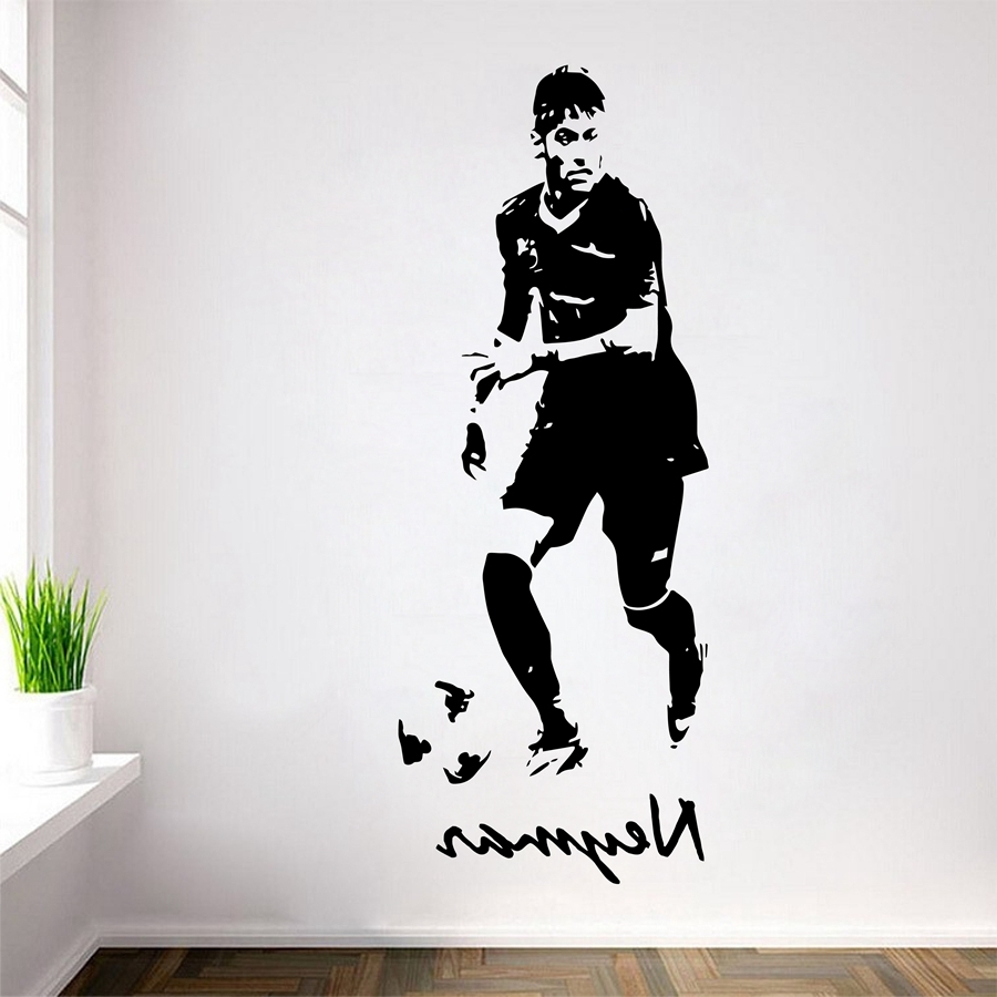 Soccer Footballer Neymar Vinyl Wall Decals Neymar Da Silva Wall Art With Well Liked Soccer Wall Art (View 16 of 20)