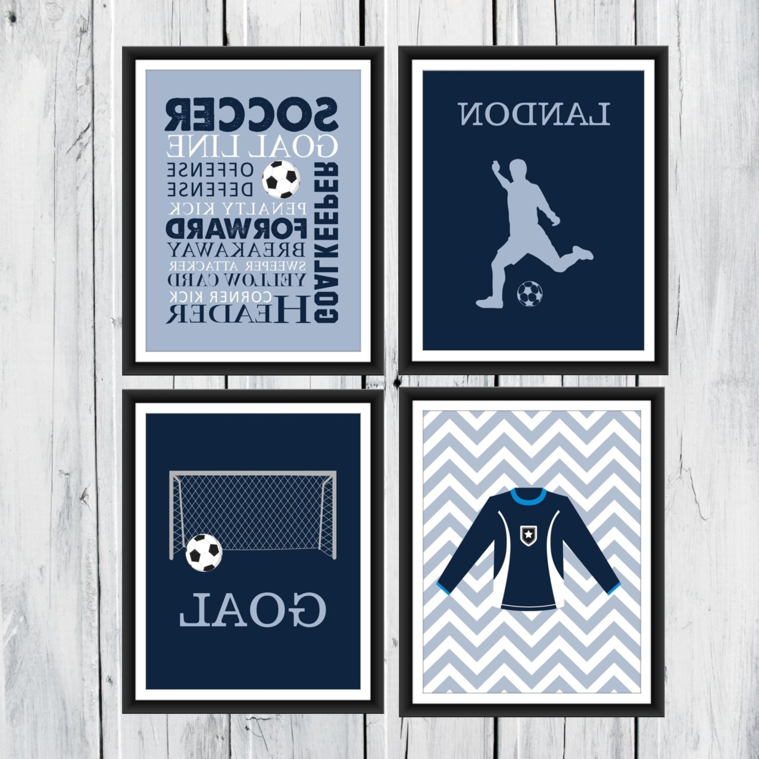 Soccer Wall Art Throughout 2018 Soccer Wall Art – 4 Piece Set – Goal – Soccer Jersey – Soccer Word (View 12 of 20)