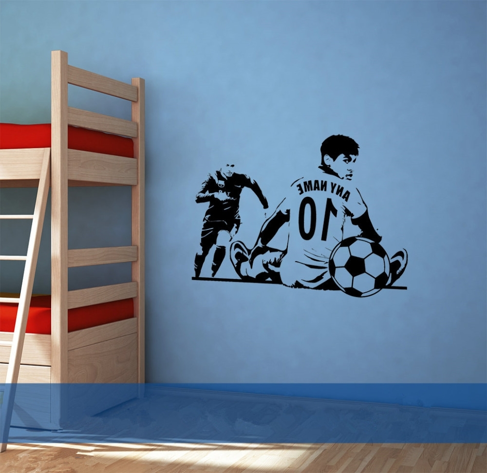Soccer Wall Art Within 2018 Custom Name Number Soccer Wall Sticker Sofa Background Decorative (View 13 of 20)