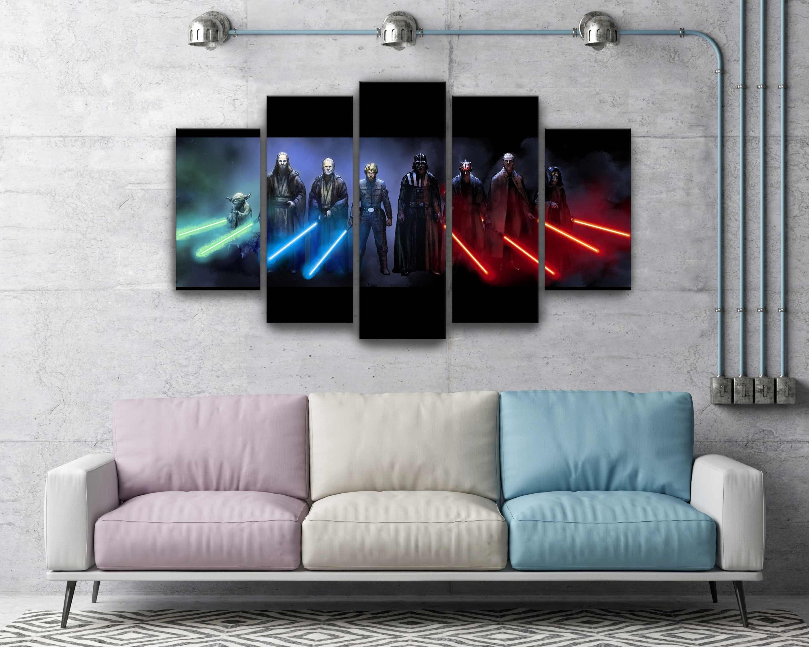 Star Wars Darth Vader Luke Skywalker Jedi And Sith Lightsaber Canvas Throughout Newest Darth Vader Wall Art (Gallery 19 of 20)