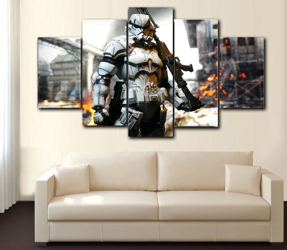 Star Wars Wall Art Throughout Newest Prints 5 Pieces Wall Art Star Wars ,iron Man, Hunger Games,spider (View 8 of 15)