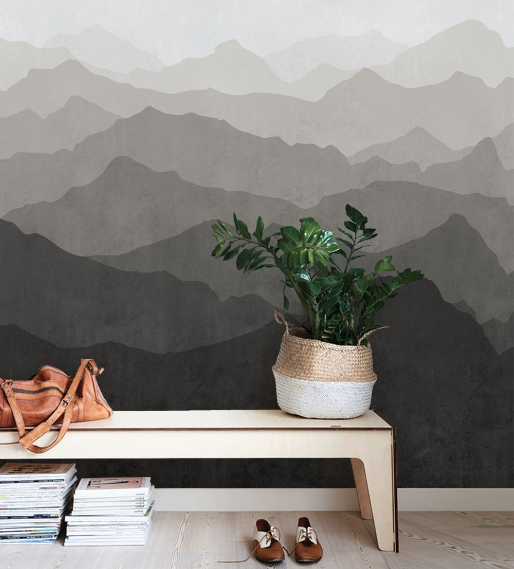 Stick On Wall Art In Well Known Mountain Mural Wall Art Wallpaper – Warm Grey – Peel And Stick (Gallery 1 of 20)
