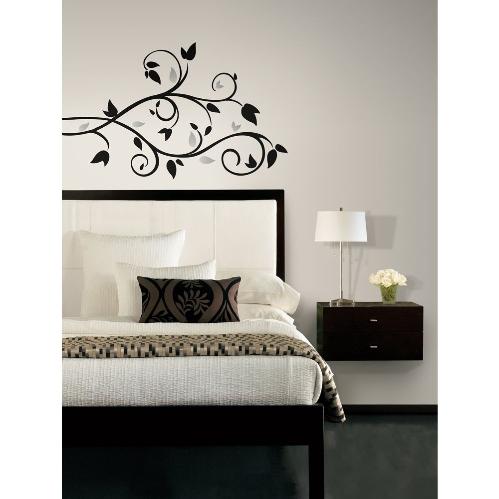 Stick On Wall Art Throughout Famous New Black & Silver Tree Branch Wall Decals Leaves Stickers Modern (View 12 of 20)