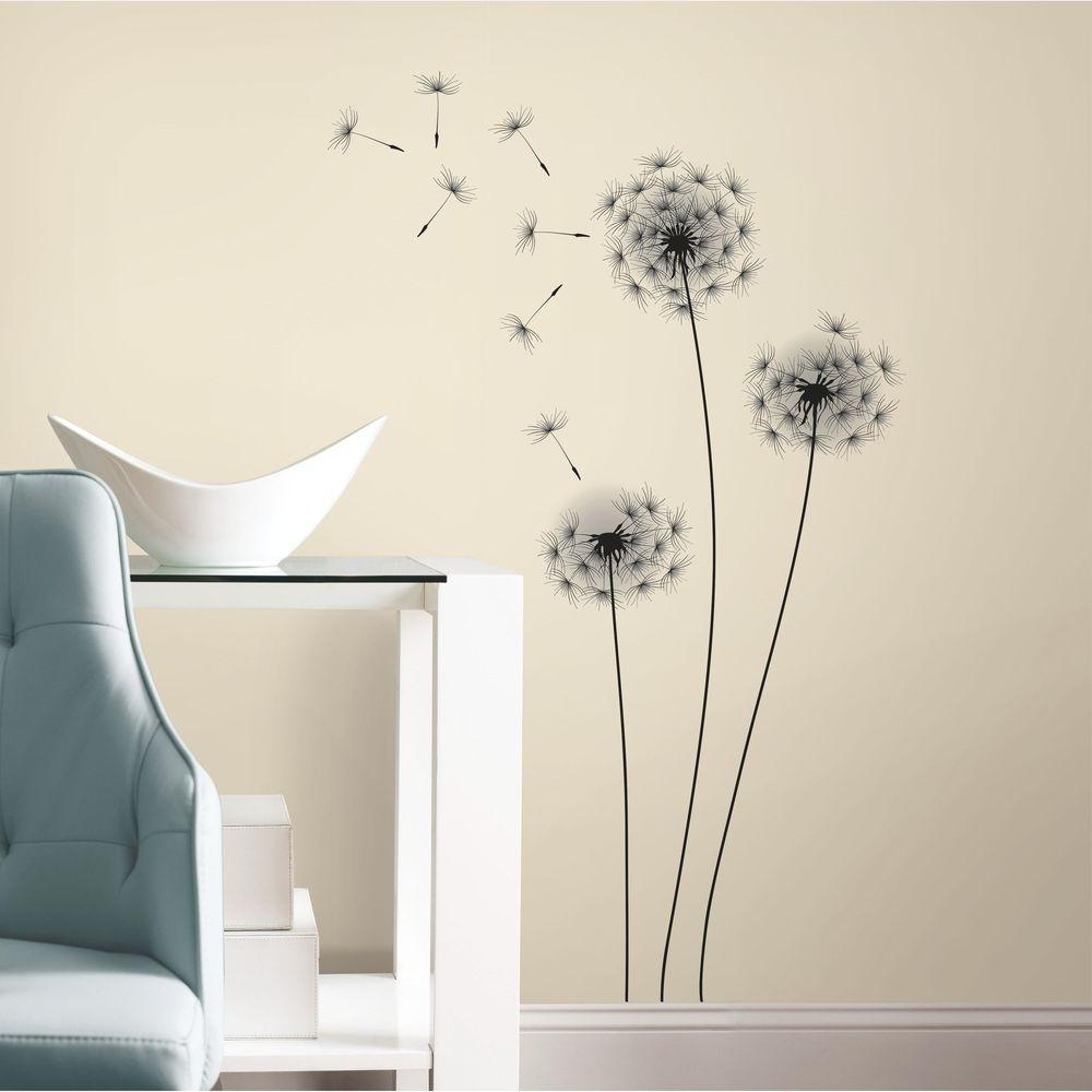 Stick On Wall Art Throughout Latest Roommates 19 In. Black Whimsical Dandelion Peel And Stick Giant Wall (Gallery 10 of 20)