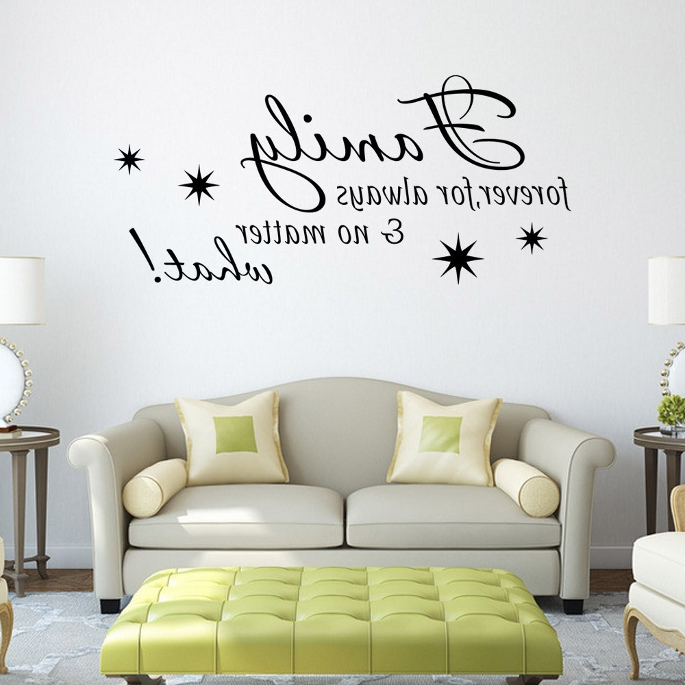Stick On Wall Art Within Favorite Black Family Letter Quote Wall Stikers Office Living Room Decoration (View 16 of 20)