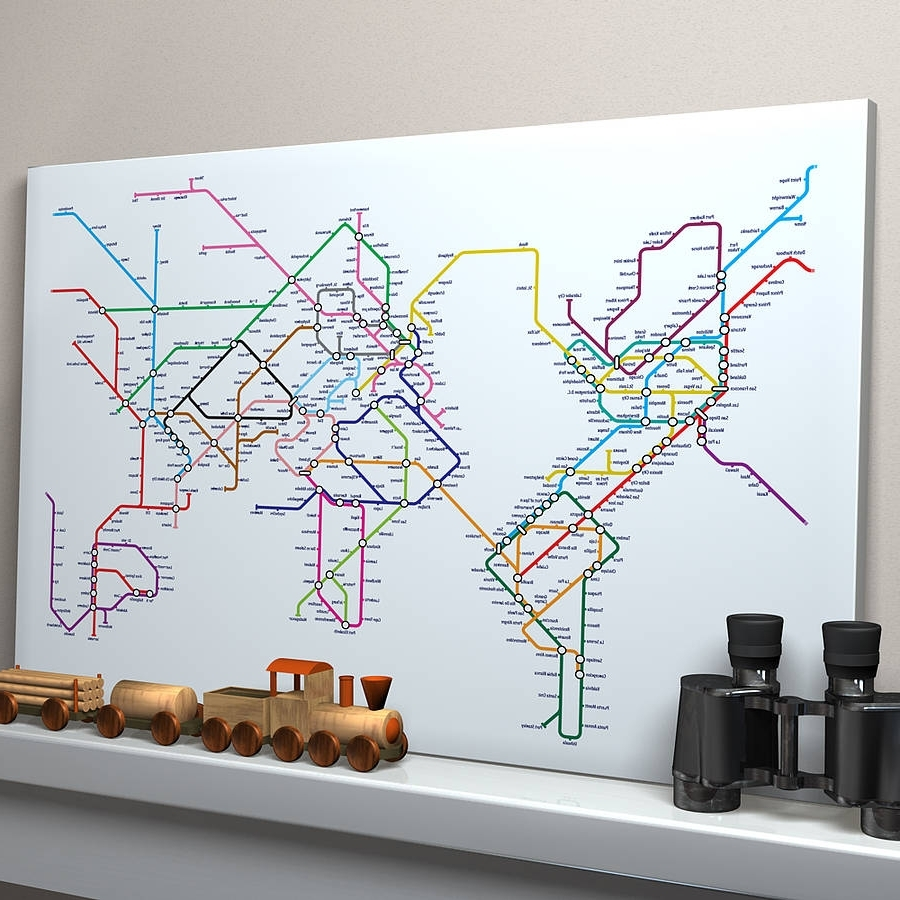Subway Tube Metro World Map Art Printartpause Regarding Latest Tube Map Wall Art (View 12 of 20)